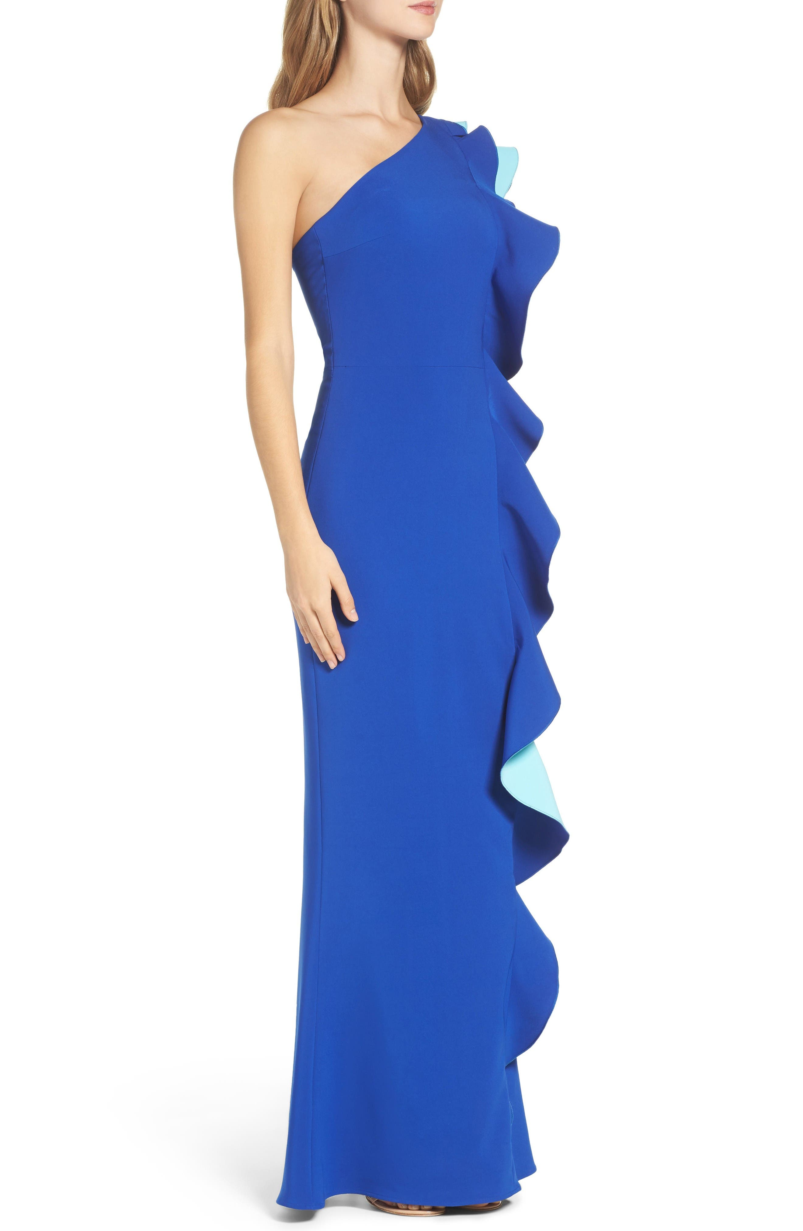 Alternate Image 3  - Maria Bianca Nero Colorblock Ruffle One-Shoulder Gown