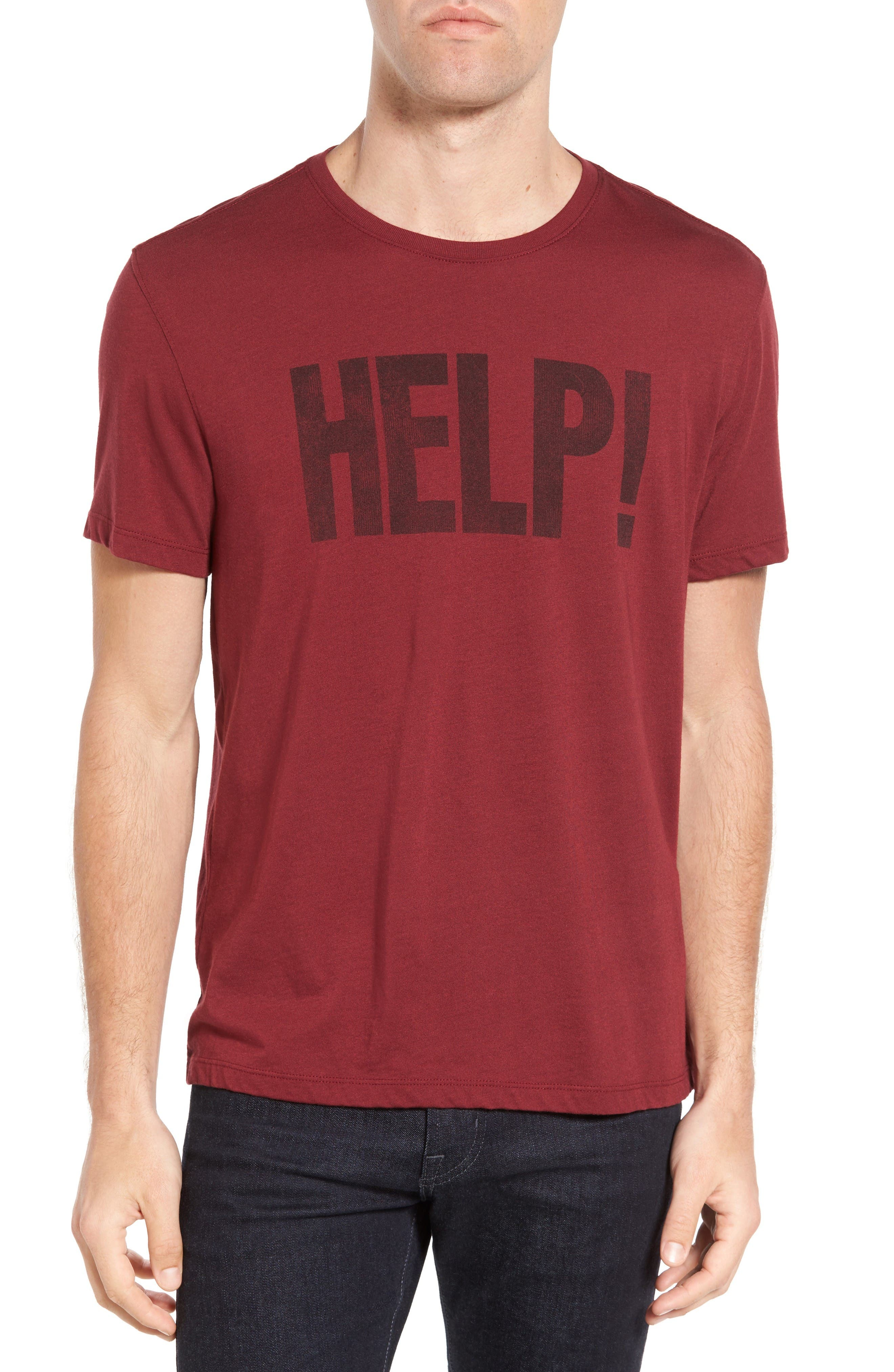 Beatles Help Graphic T-Shirt,                             Main thumbnail 1, color,                             Oxblood