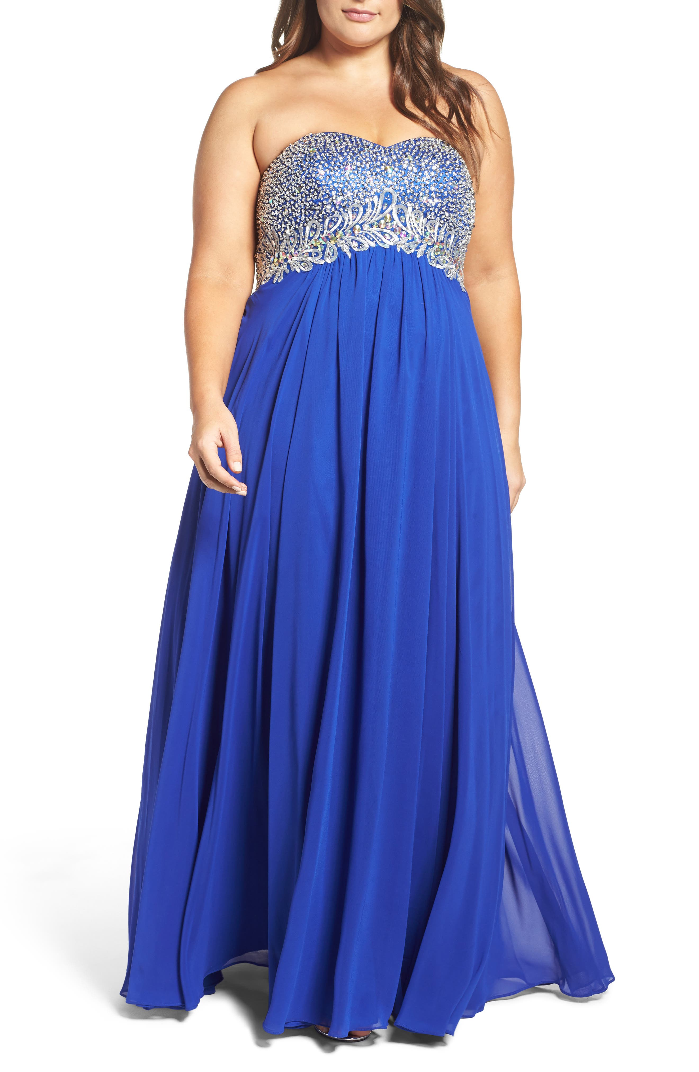 Embellished Strapless Gown,                         Main,                         color, Royal