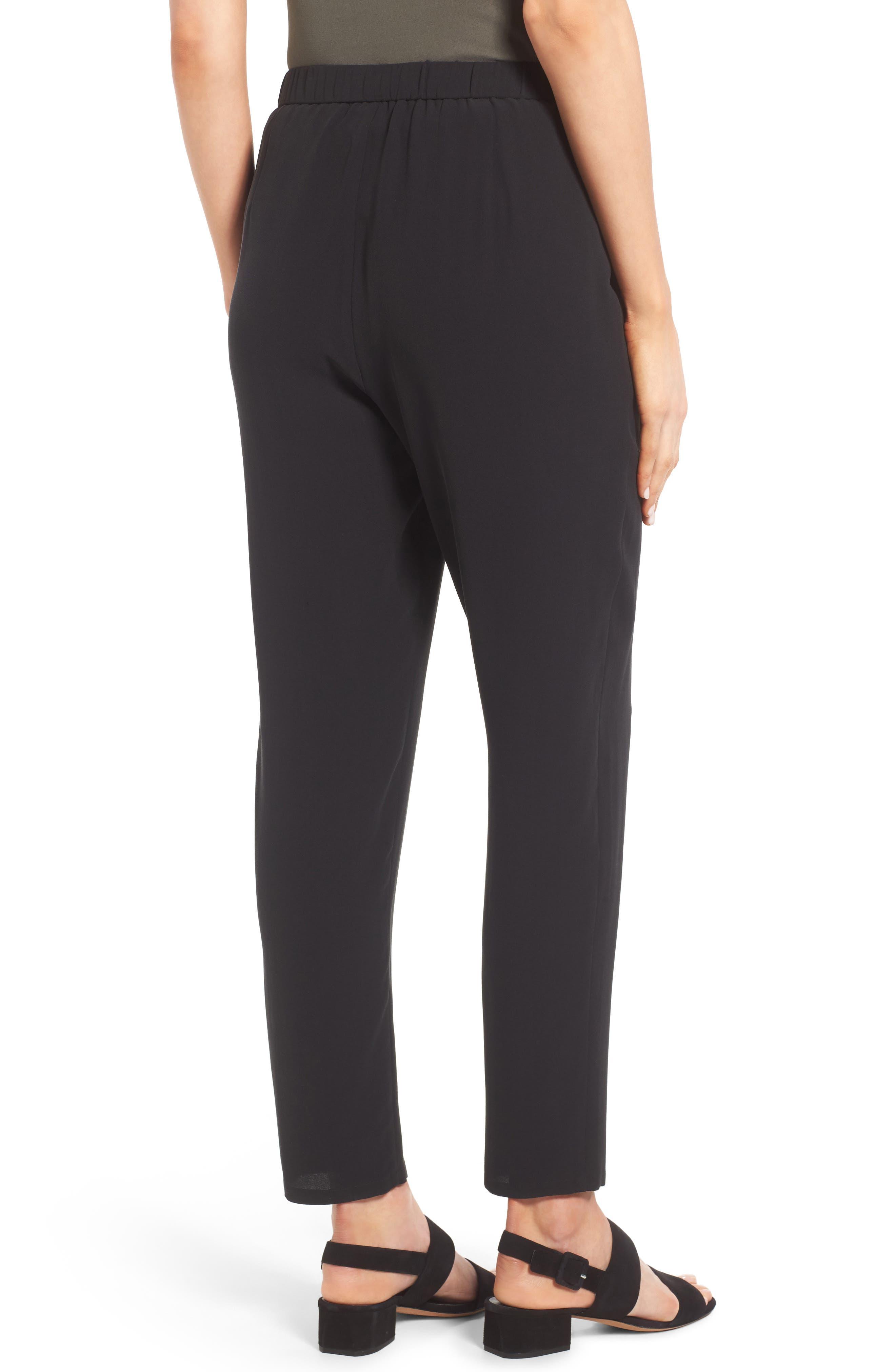 Slouchy Silk Crepe Ankle Pants,                             Alternate thumbnail 2, color,                             Black