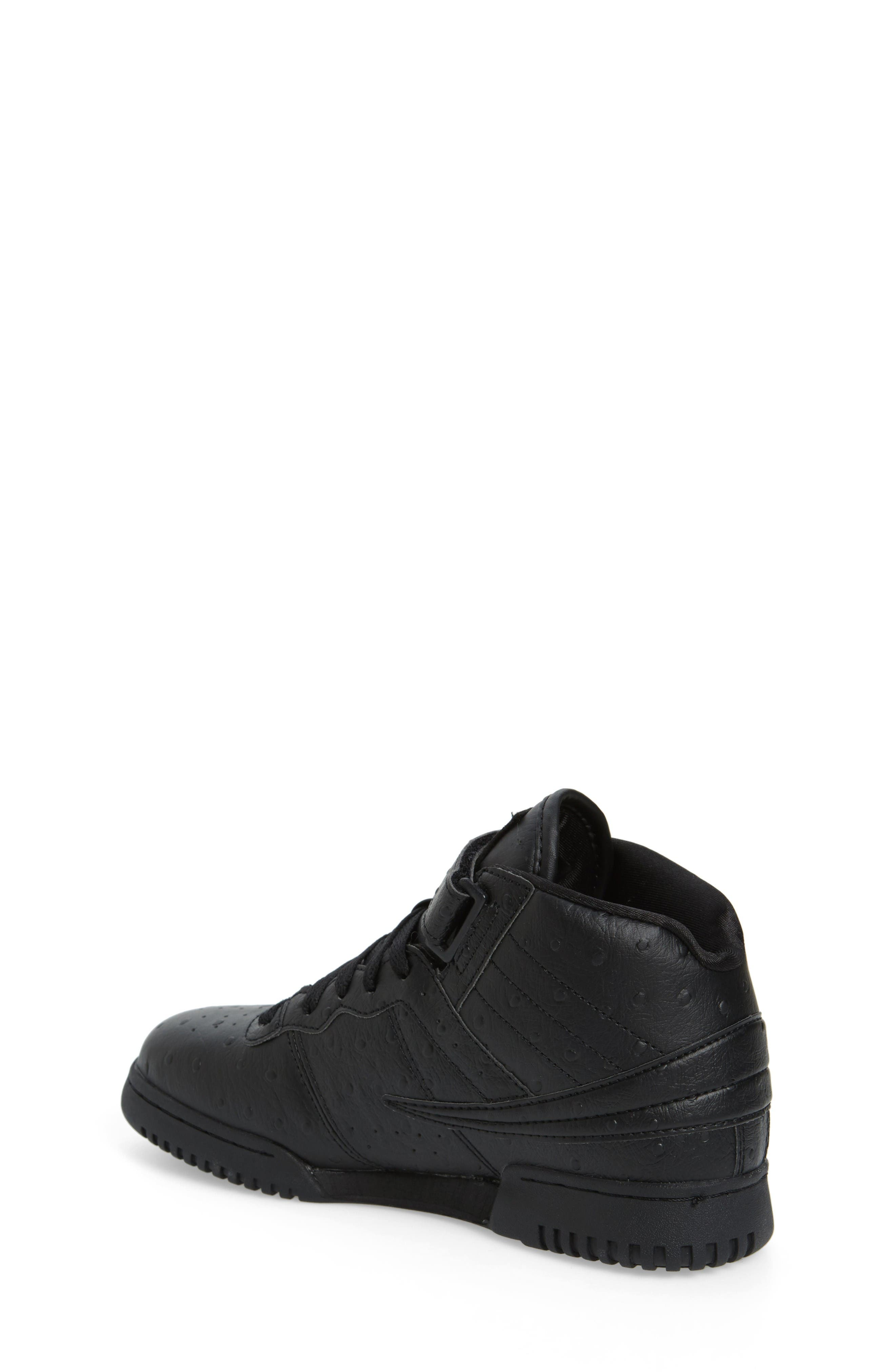 F-13 Ostrich Embossed High Top Sneaker,                             Alternate thumbnail 2, color,                             Triple Black