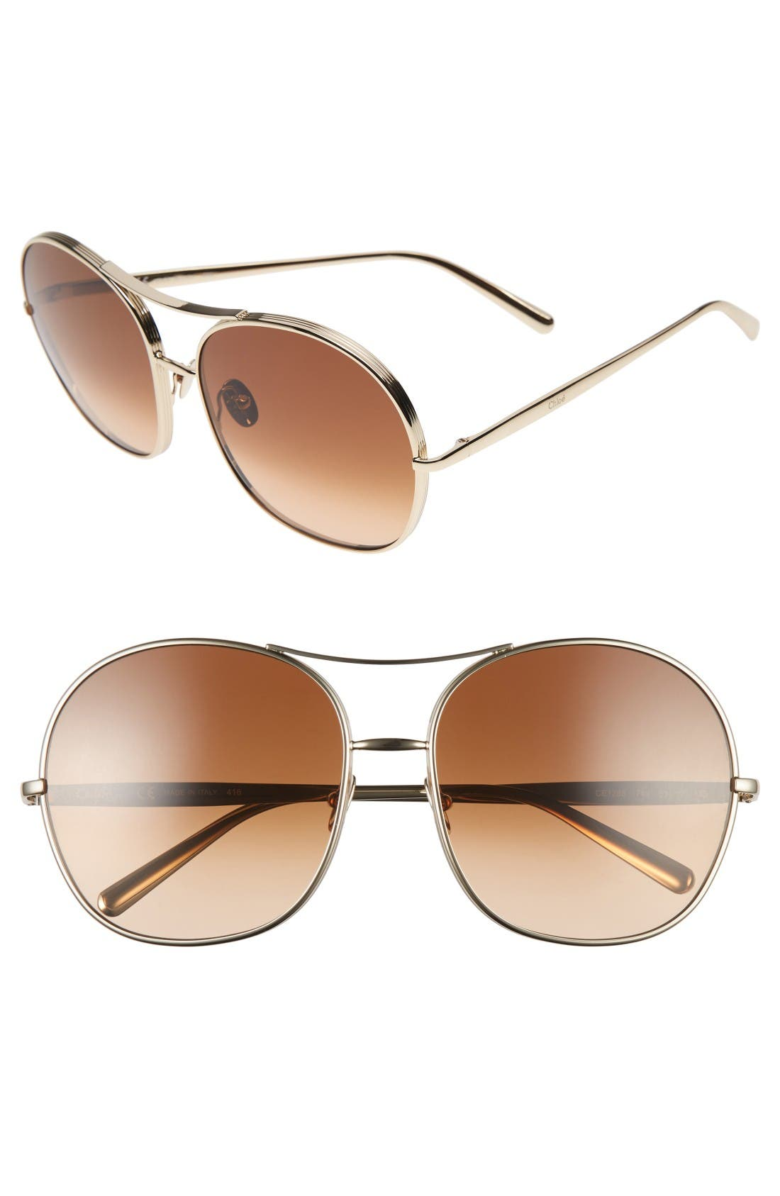 61mm Oversize Aviator Sunglasses,                             Main thumbnail 1, color,                             Gold/ Brown