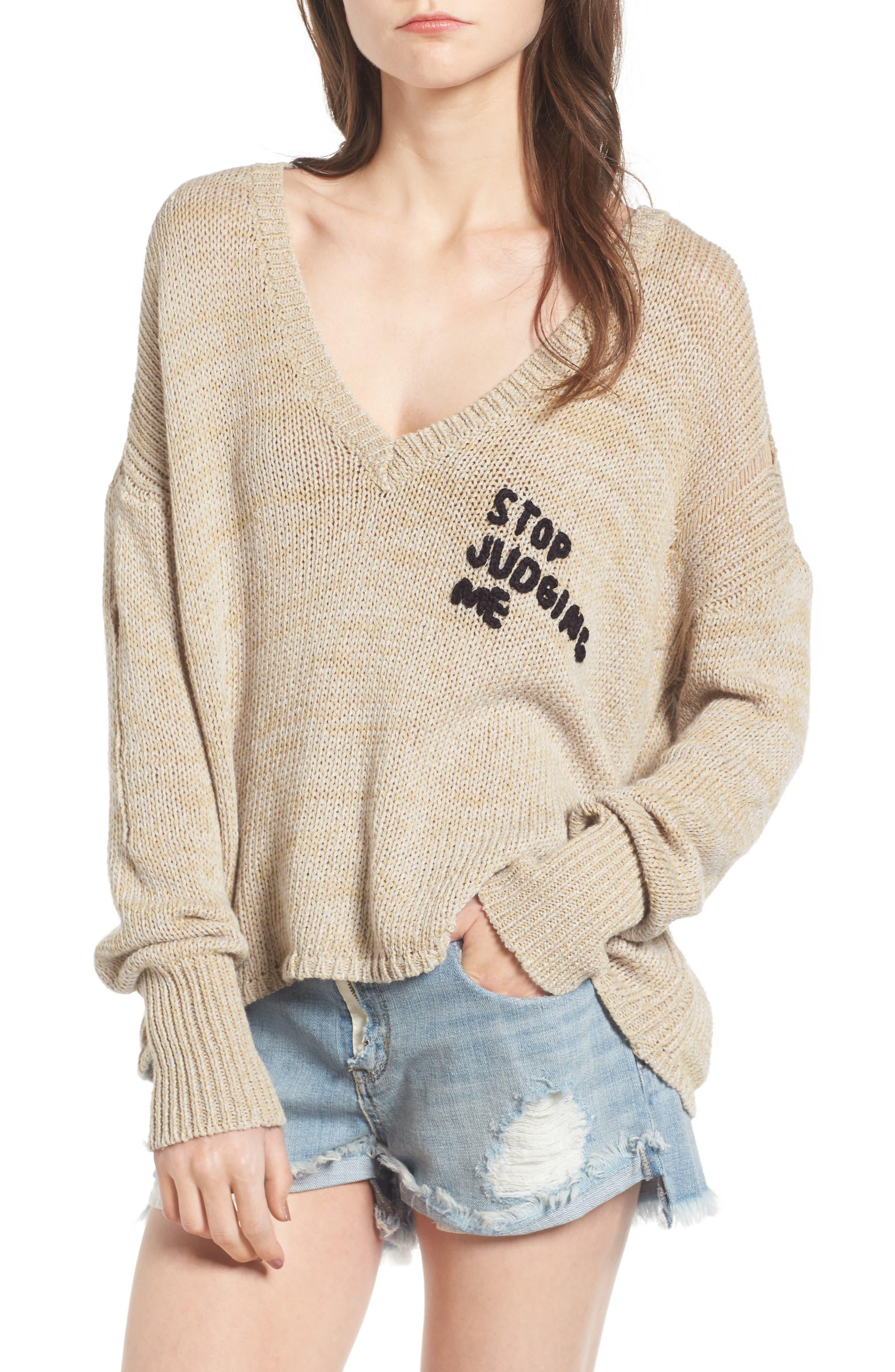 Alternate Image 1 Selected - Wildfox Stop Judging Me Sweater