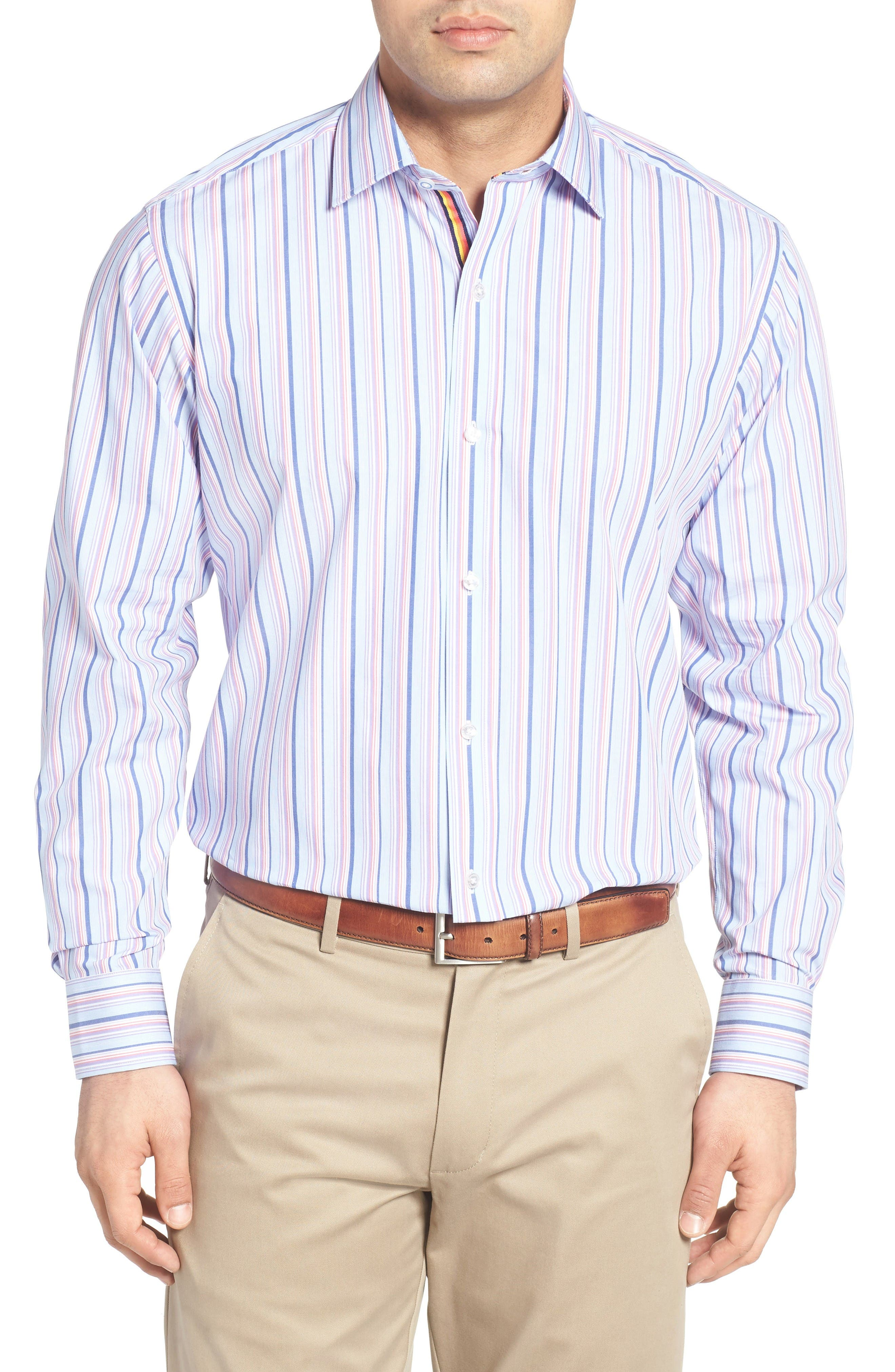 Holly Stripe Sport Shirt,                         Main,                         color, Lavender