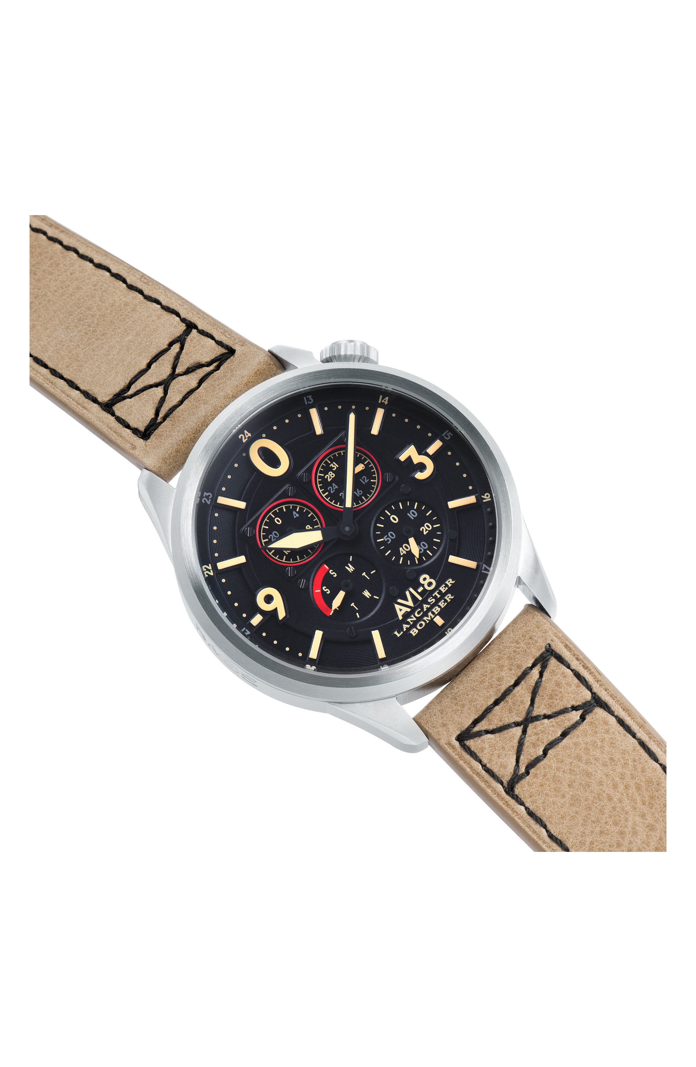 Lancaster Bomber Multifunction Leather Strap Watch, 44mm,                             Alternate thumbnail 5, color,                             Black/ Beige