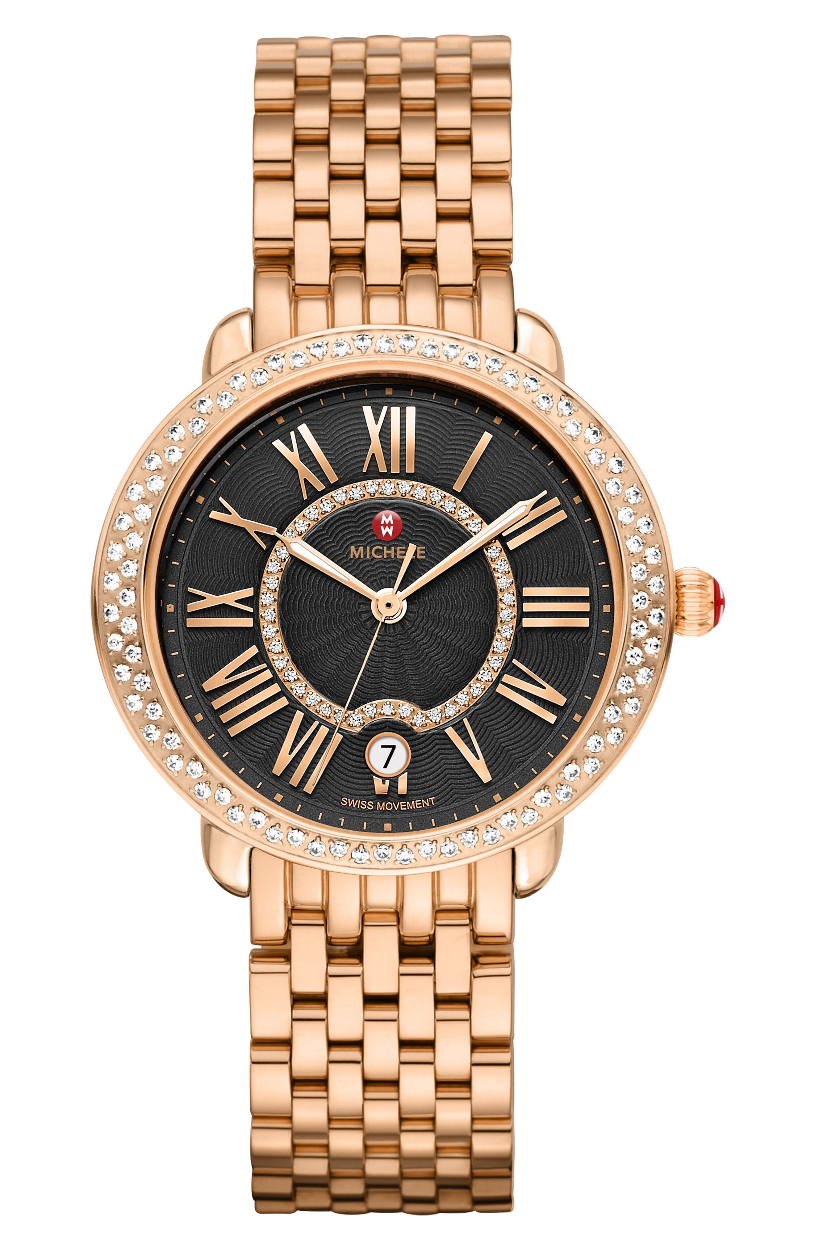 Serein 16 Diamond Watch Case, 34mm x 36mm,                             Alternate thumbnail 2, color,                             Rose Gold/ Black