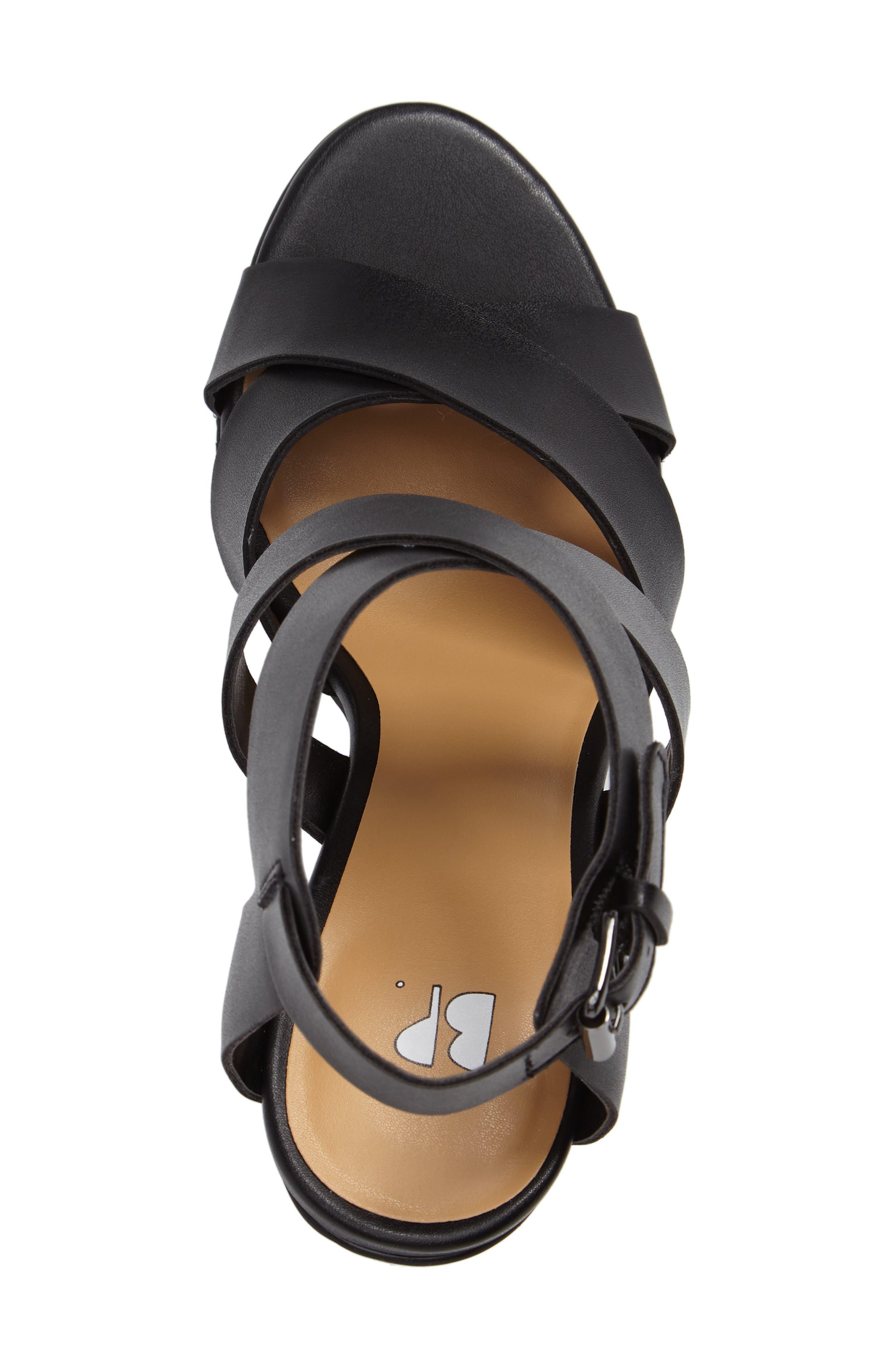 Terry Block Heel Sandal,                             Alternate thumbnail 3, color,                             Black Faux Leather