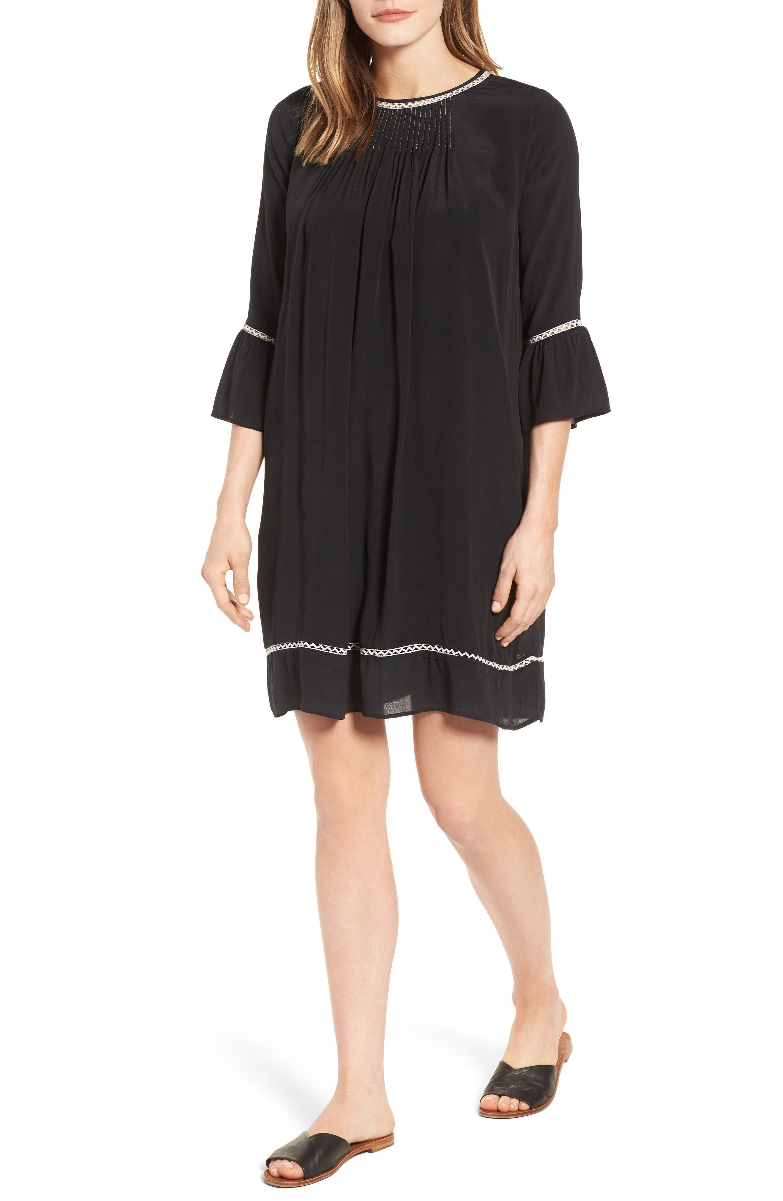 Pintuck Pleat Lantern Sleeve Babydoll Dress,                             Main thumbnail 1, color,                             Vintage Black