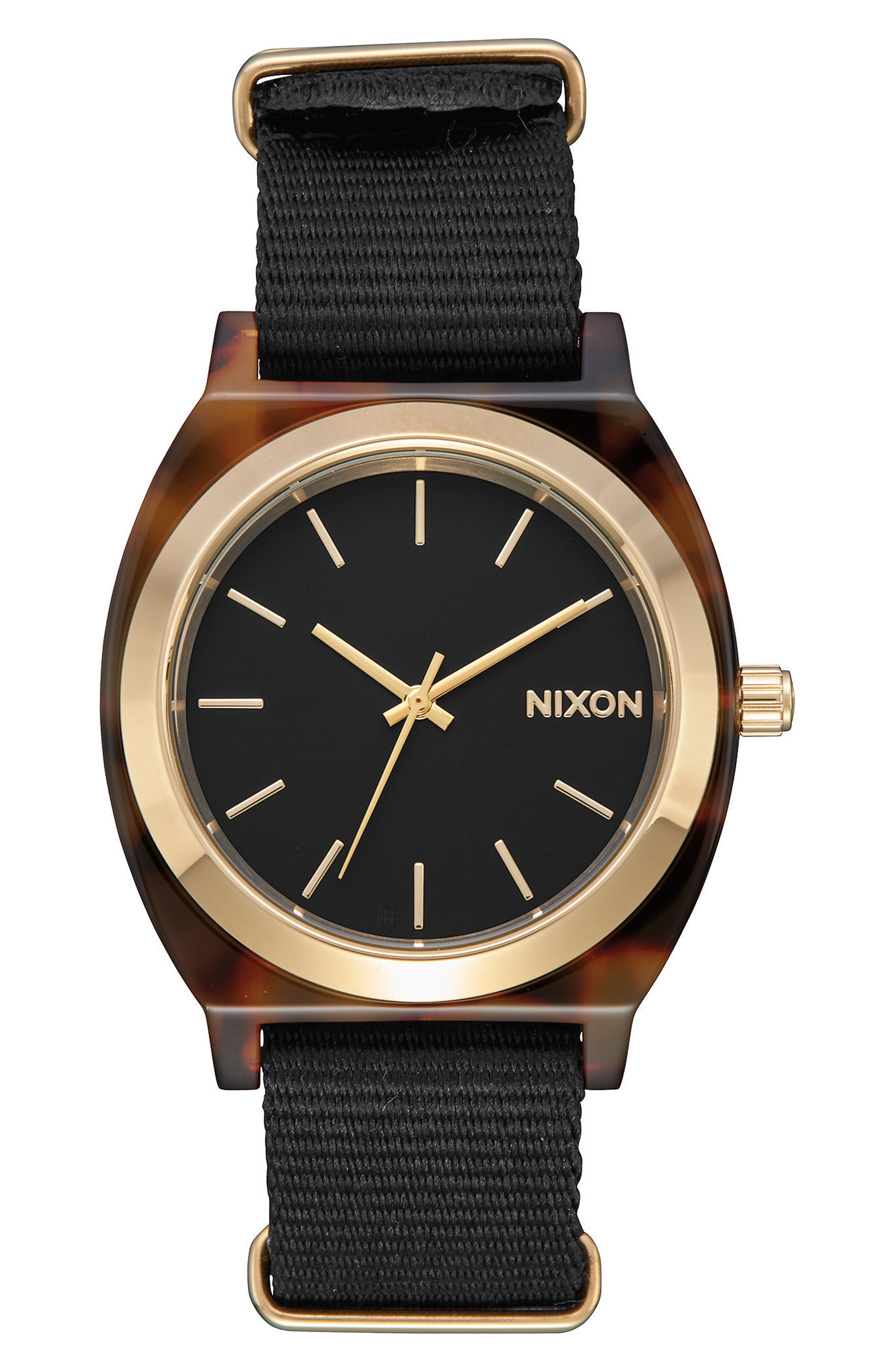 Time Teller Nylon Strap Watch, 40mm,                         Main,                         color, Black/ Tortoise Acetate