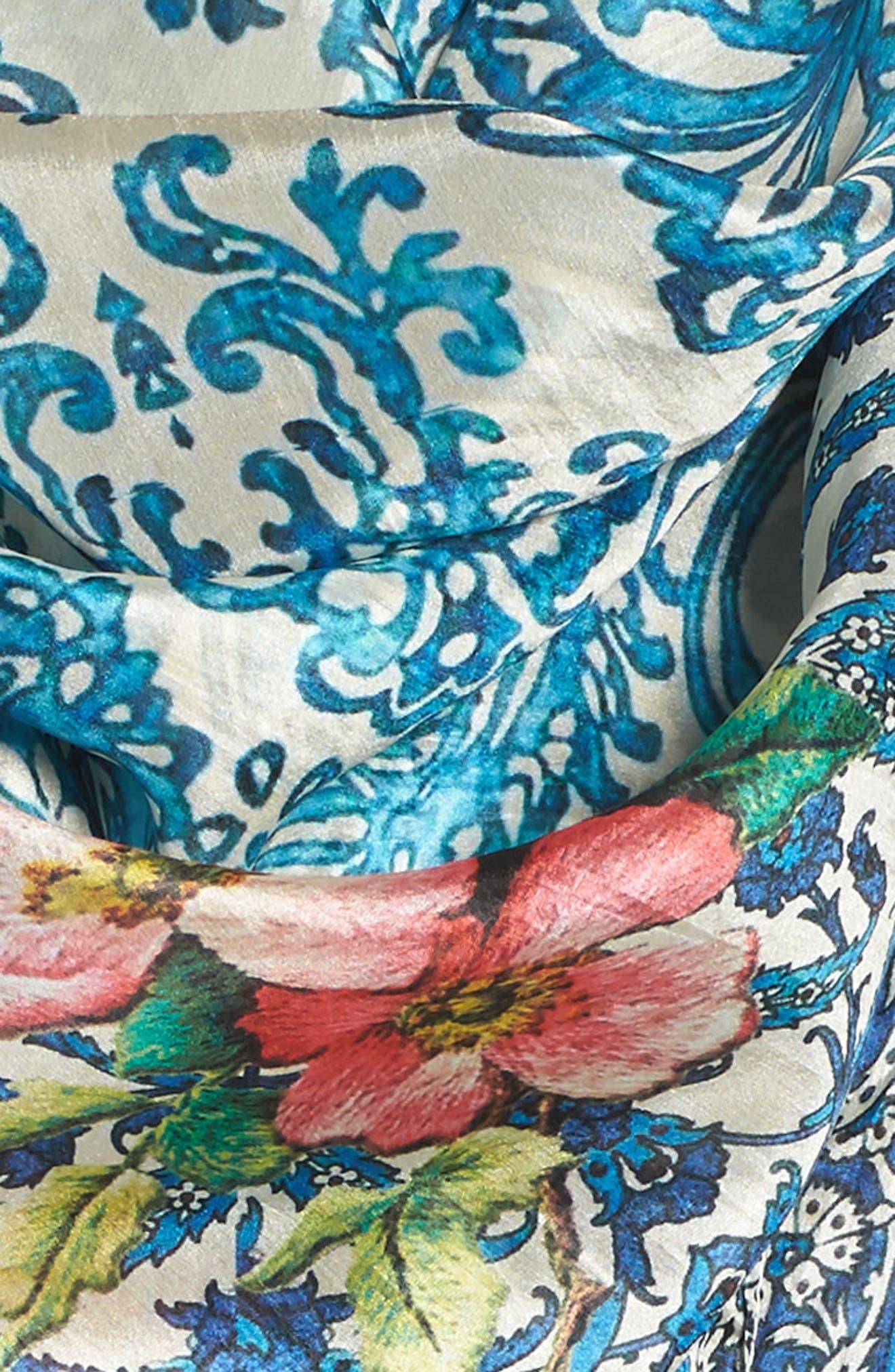 Horizon Print Square Silk Scarf,                             Alternate thumbnail 3, color,                             Multi