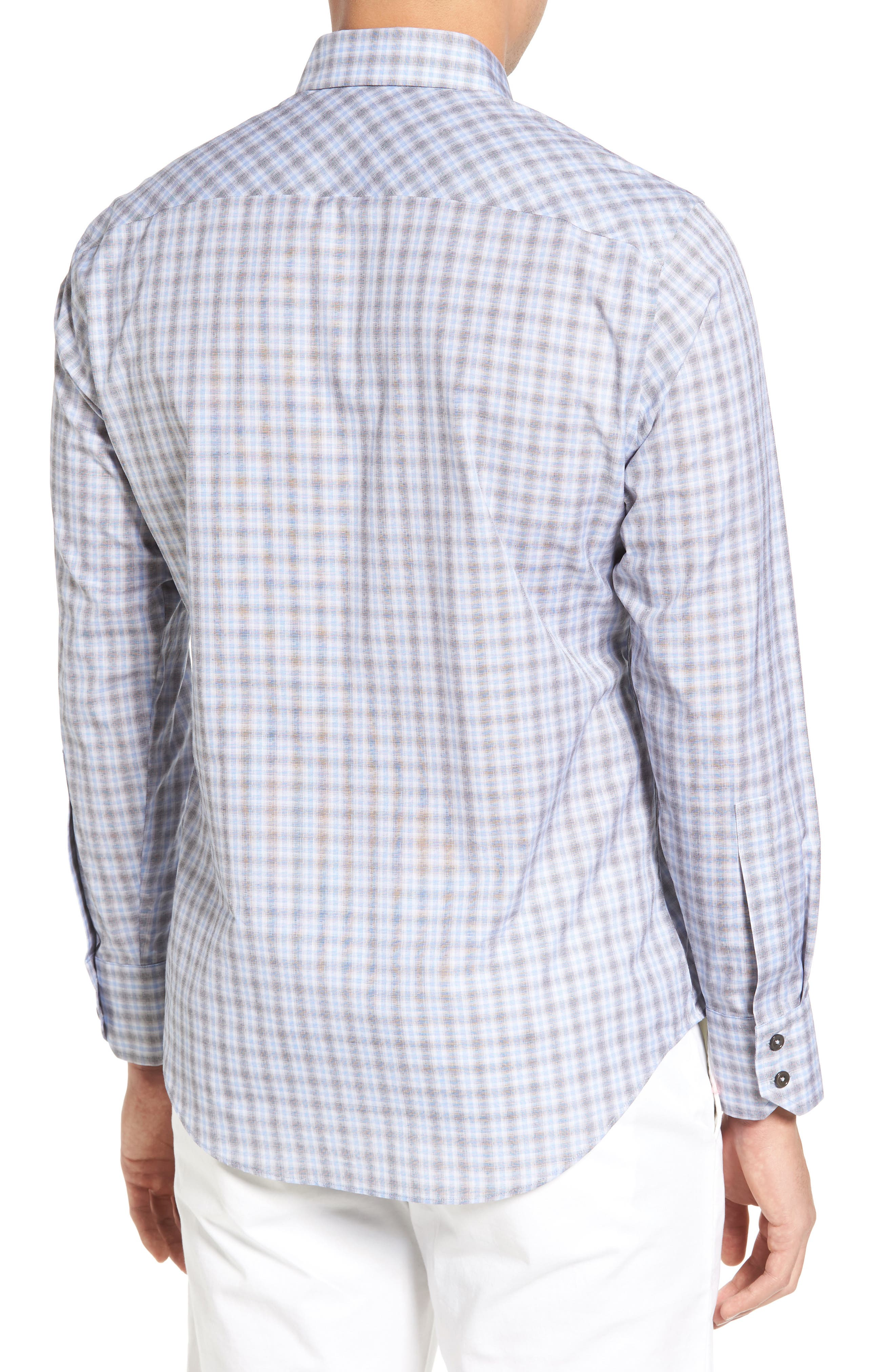 Cristiano Trim Fit Plaid Sport Shirt,                             Alternate thumbnail 2, color,                             Grey