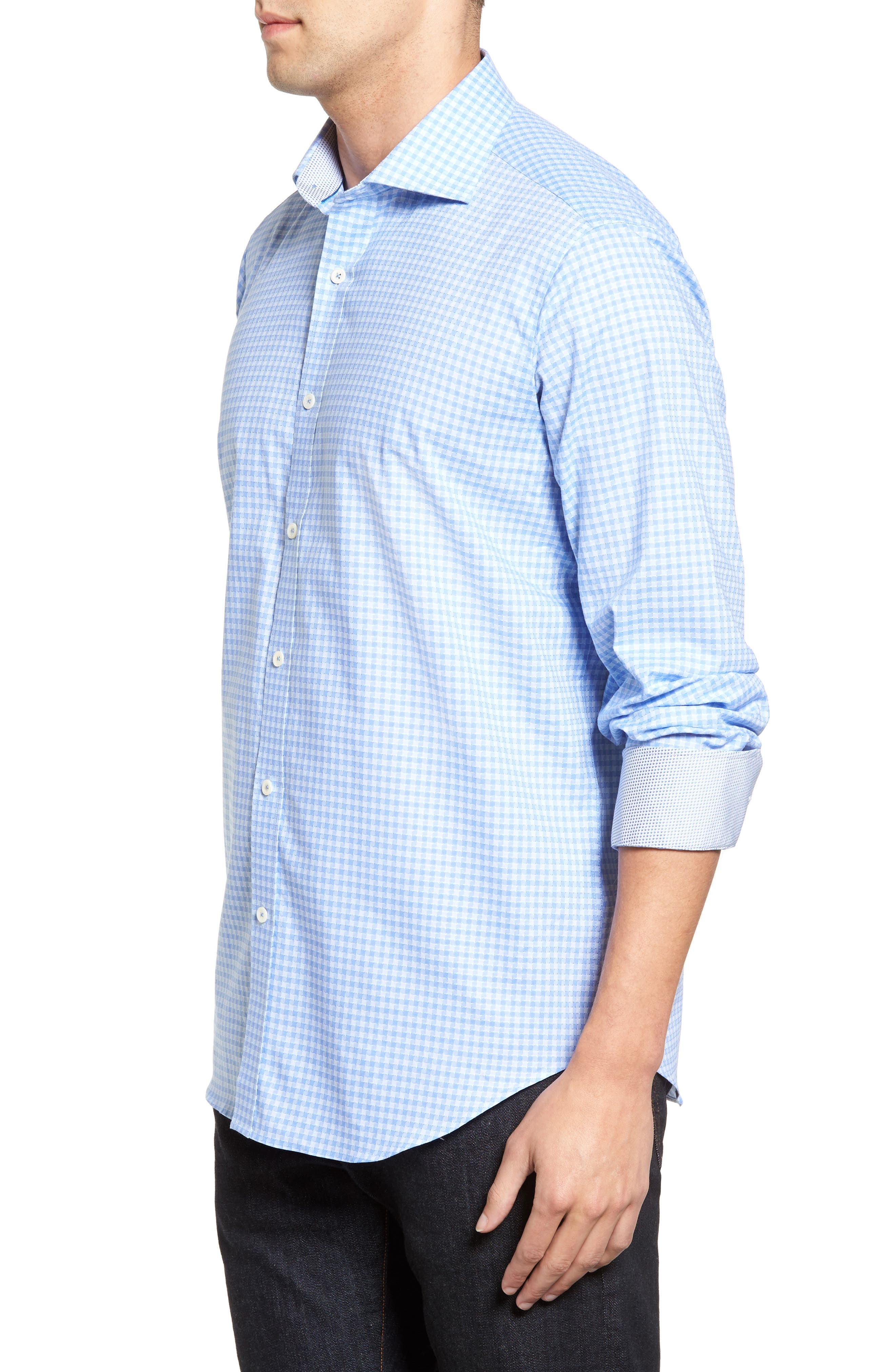 Classic Fit Circle Check Sport Shirt,                             Alternate thumbnail 3, color,                             Air Blue