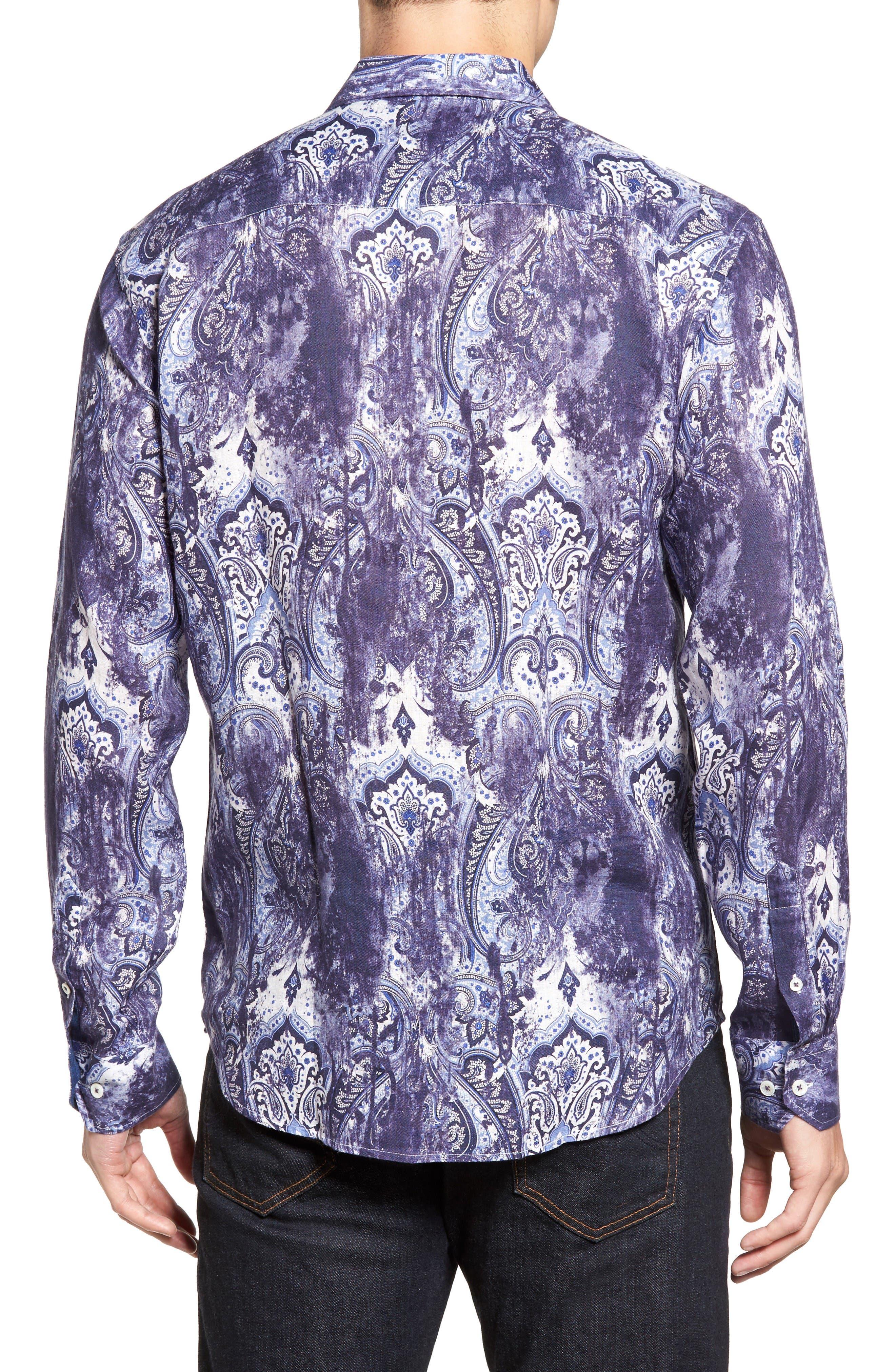 Shaped Fit Paisley Print Linen Sport Shirt,                             Alternate thumbnail 2, color,                             Night Blue
