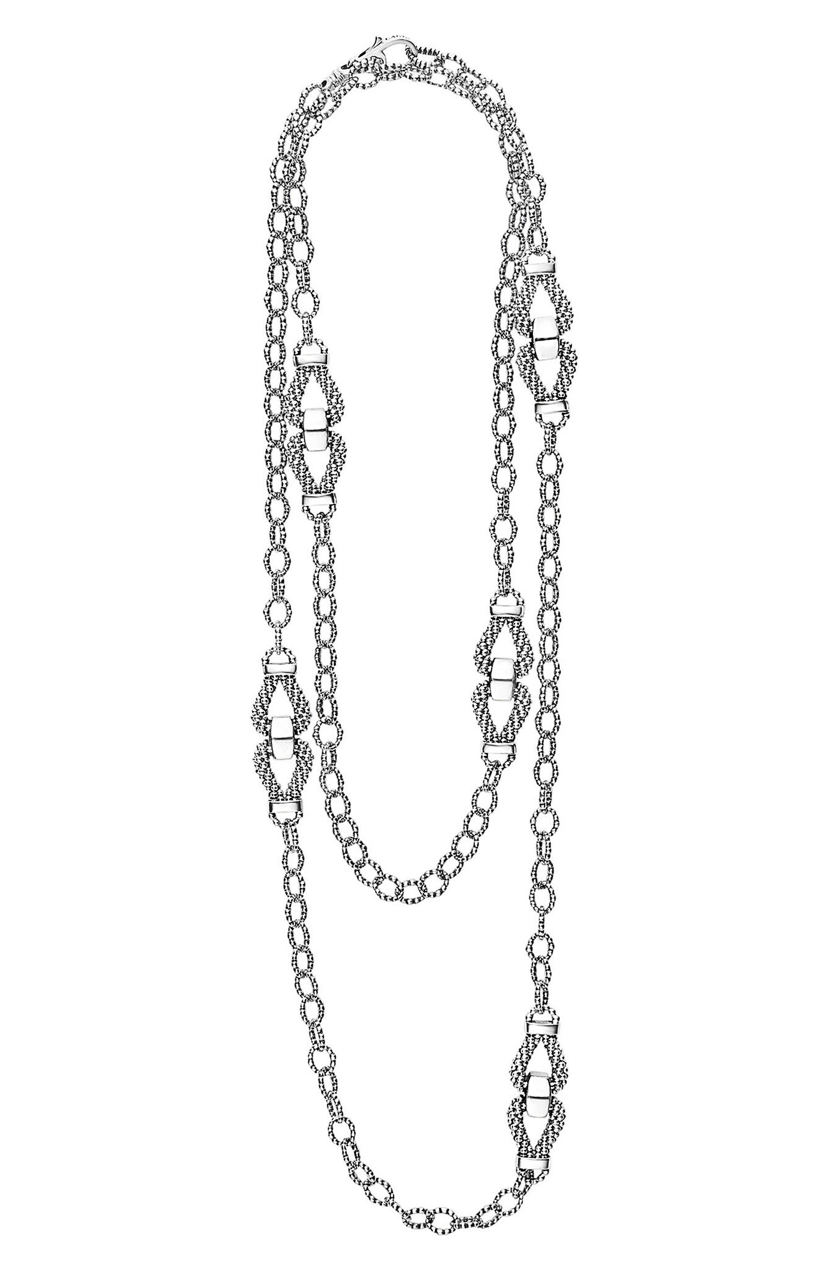 Derby Caviar Link Necklace,                         Main,                         color, Silver