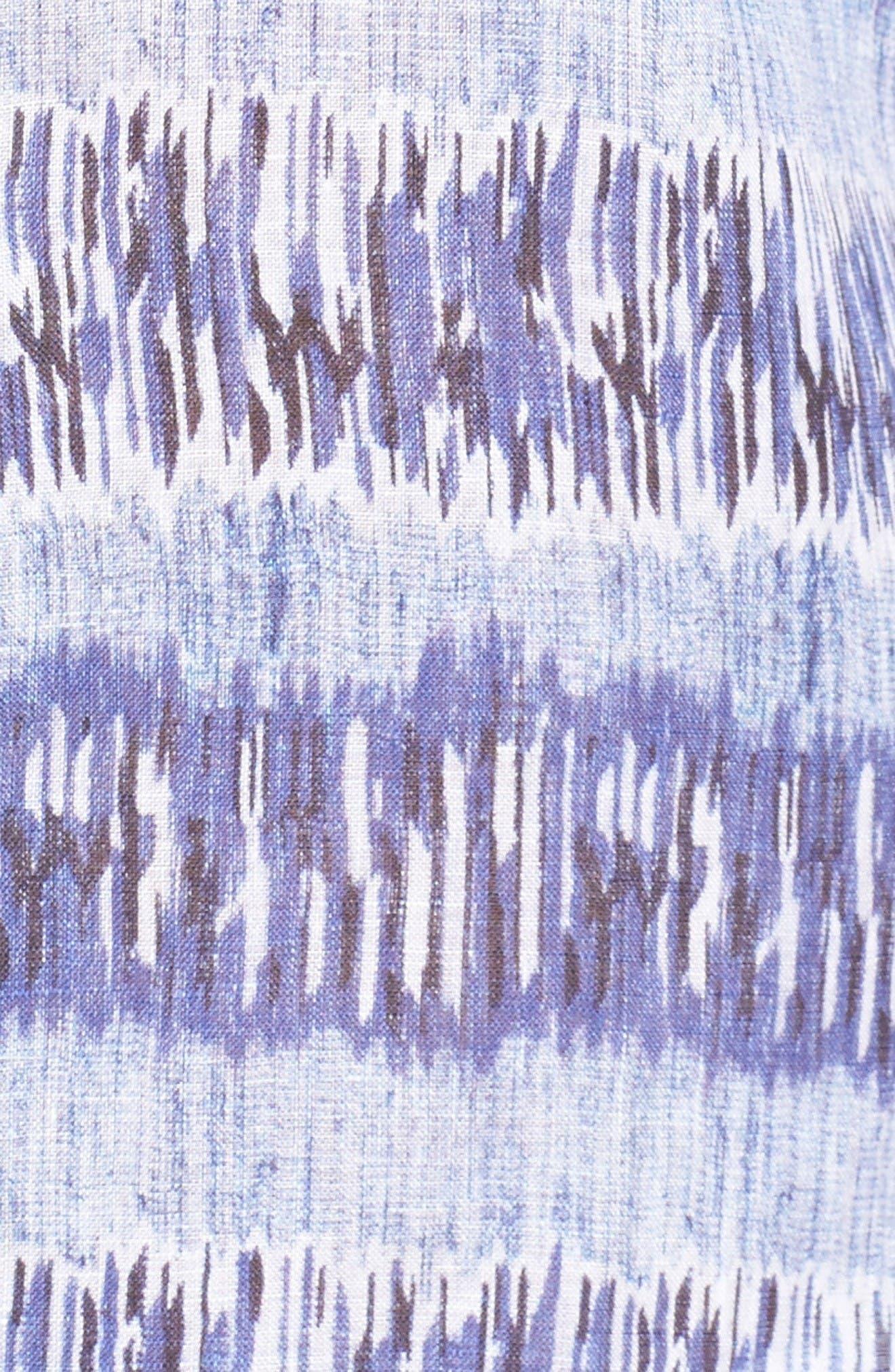 Alternate Image 5  - Bugatchi Shaped Fit Print Linen Sport Shirt