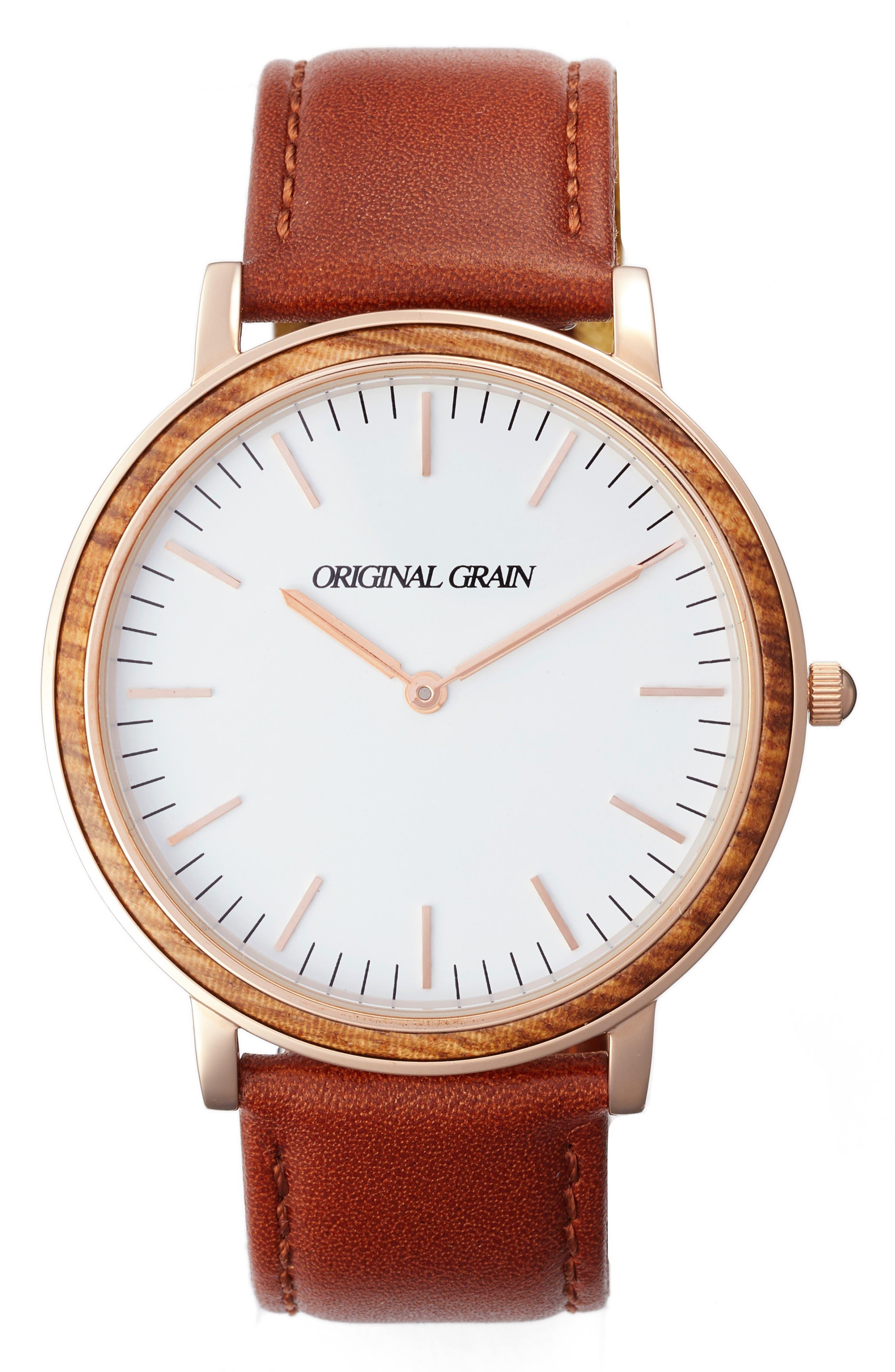 Minimalist Leather Strap Watch, 40mm,                         Main,                         color, White/ Cognac