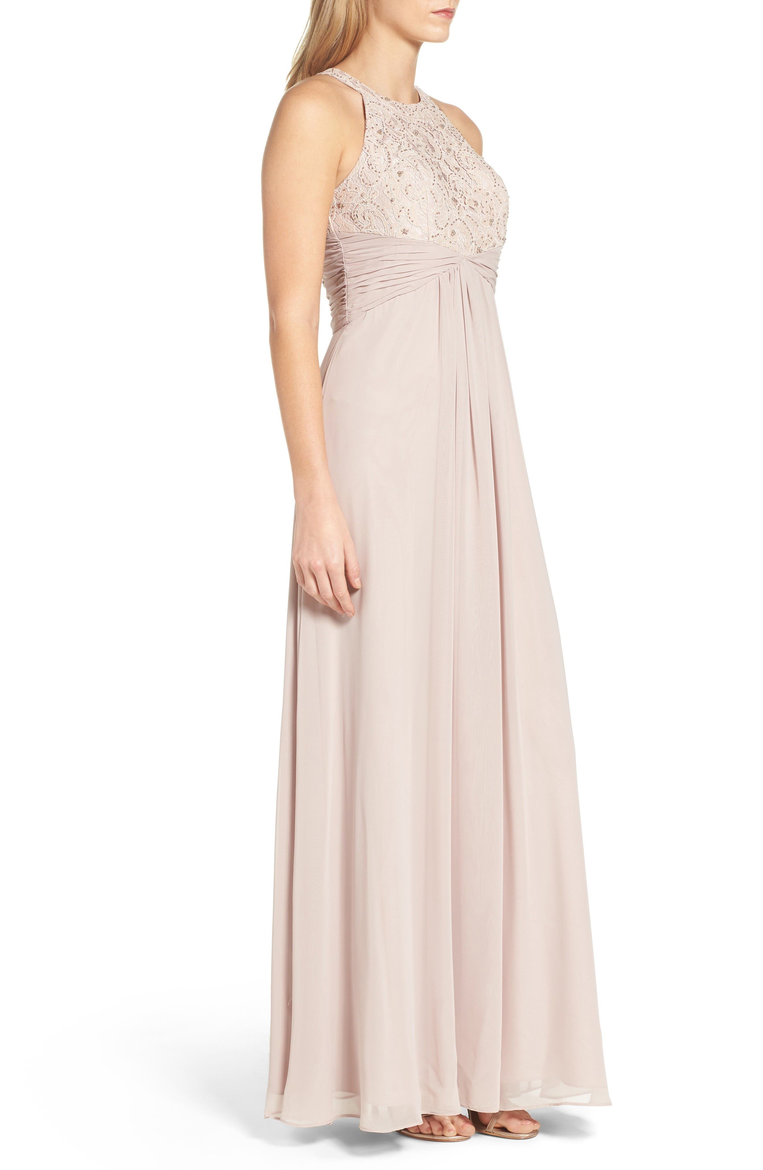 Beaded Lace & Chiffon Gown,                             Alternate thumbnail 3, color,                             Champagne