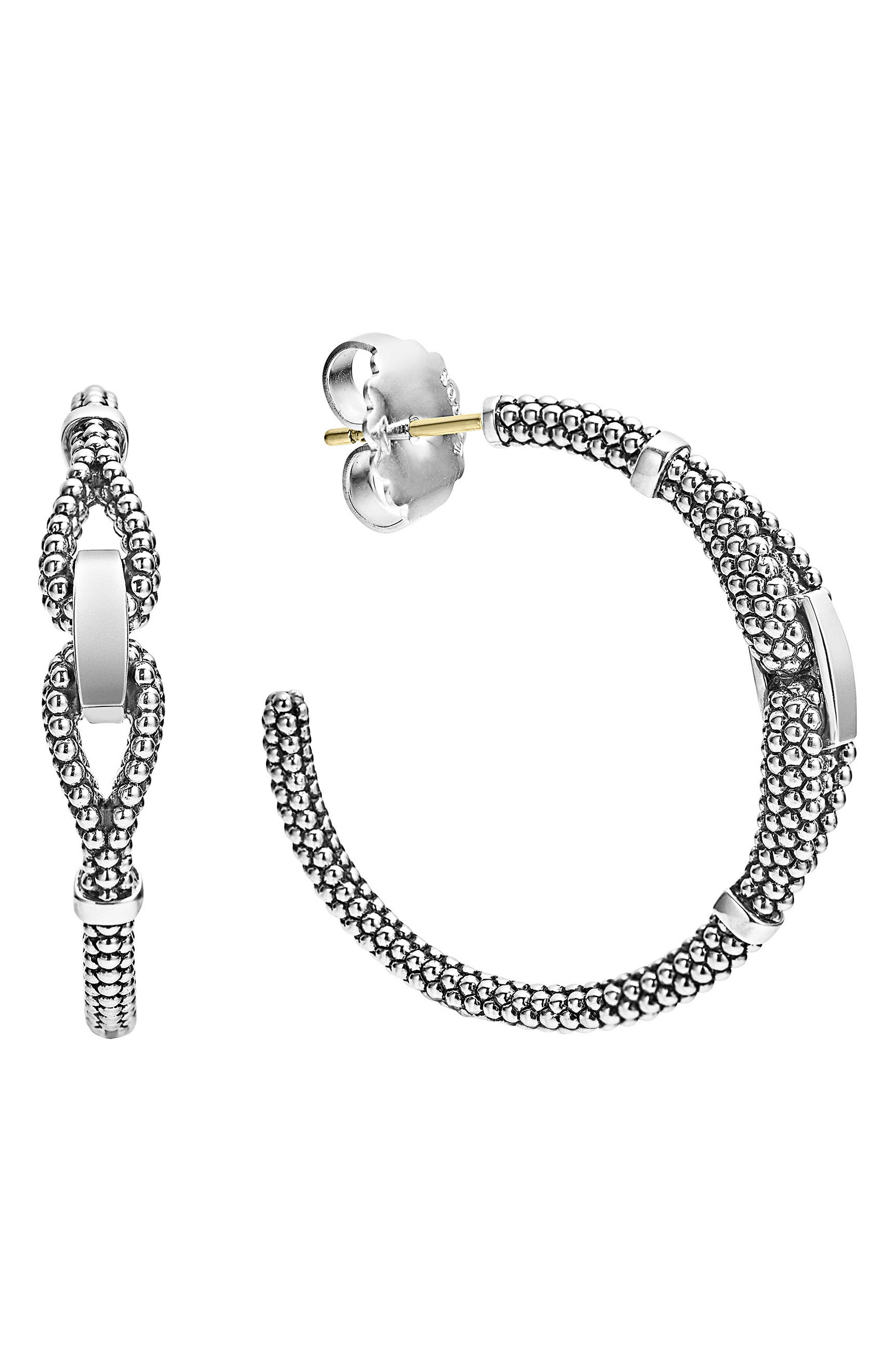 Derby Caviar Hoop Earrings,                         Main,                         color, Silver
