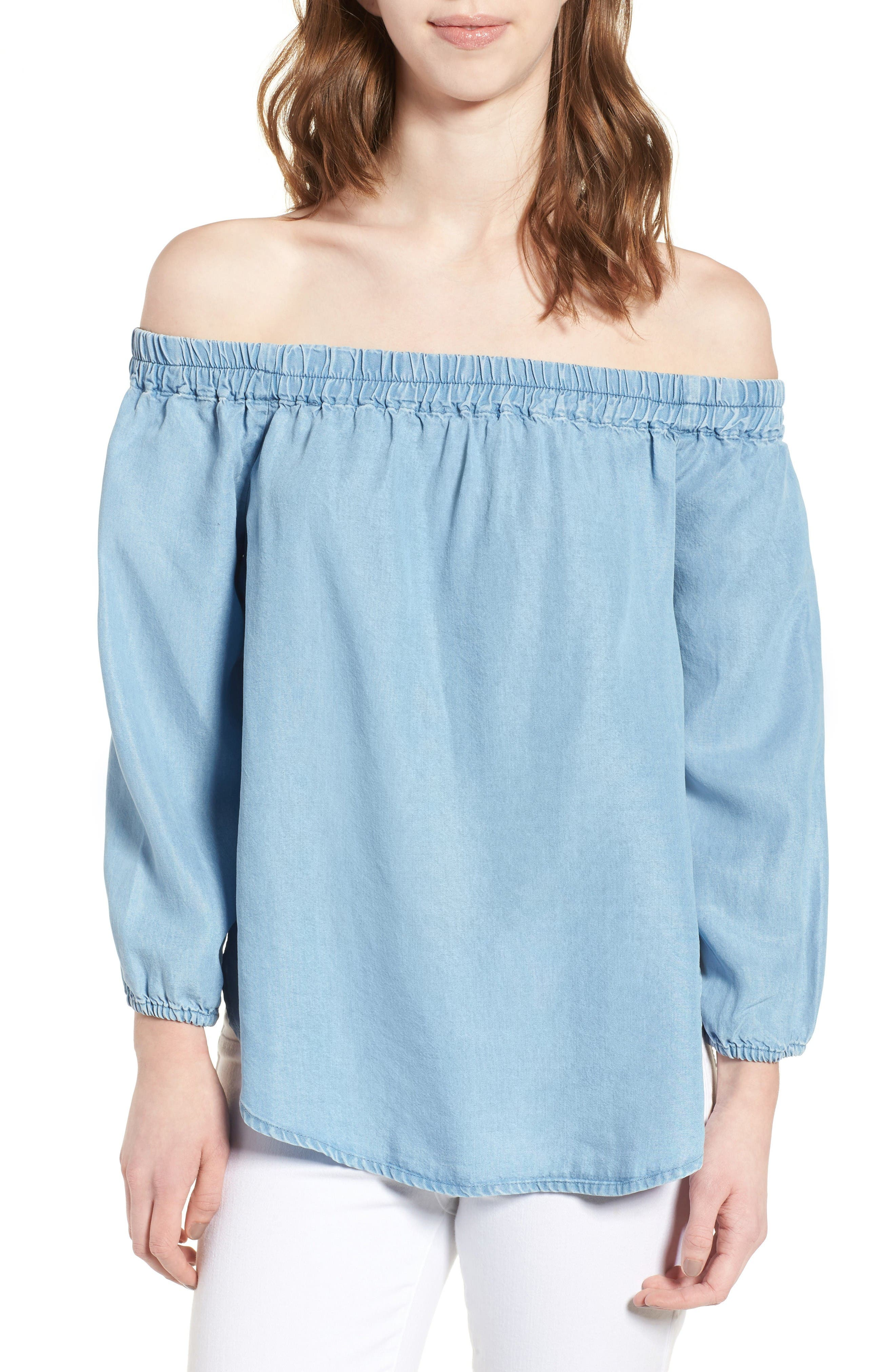 Splendid Off the Shoulder Chambray Top