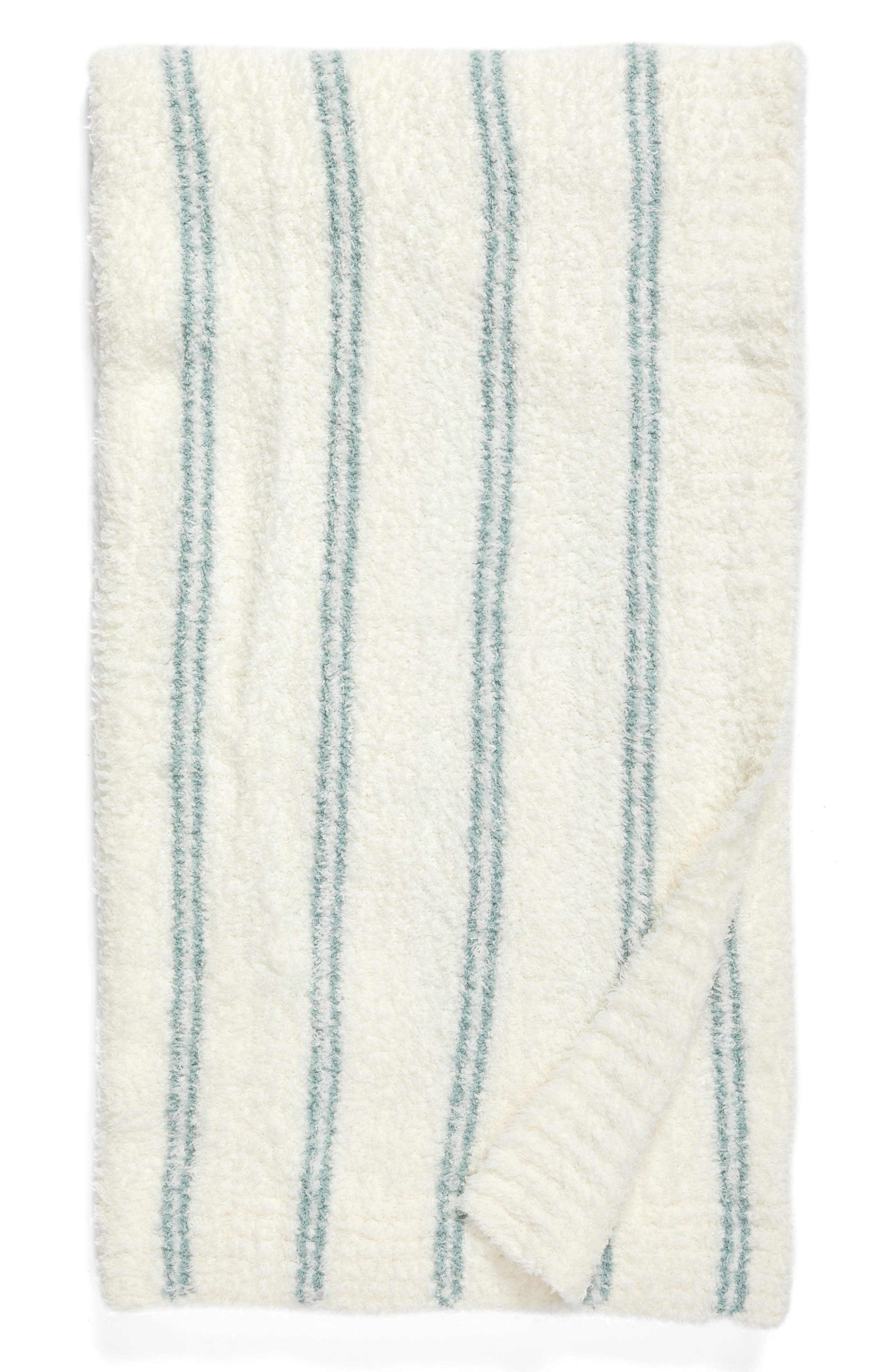 Cozychic<sup>®</sup> Vertical Stripe Throw Blanket,                         Main,                         color, Pearl/ Blue Wave