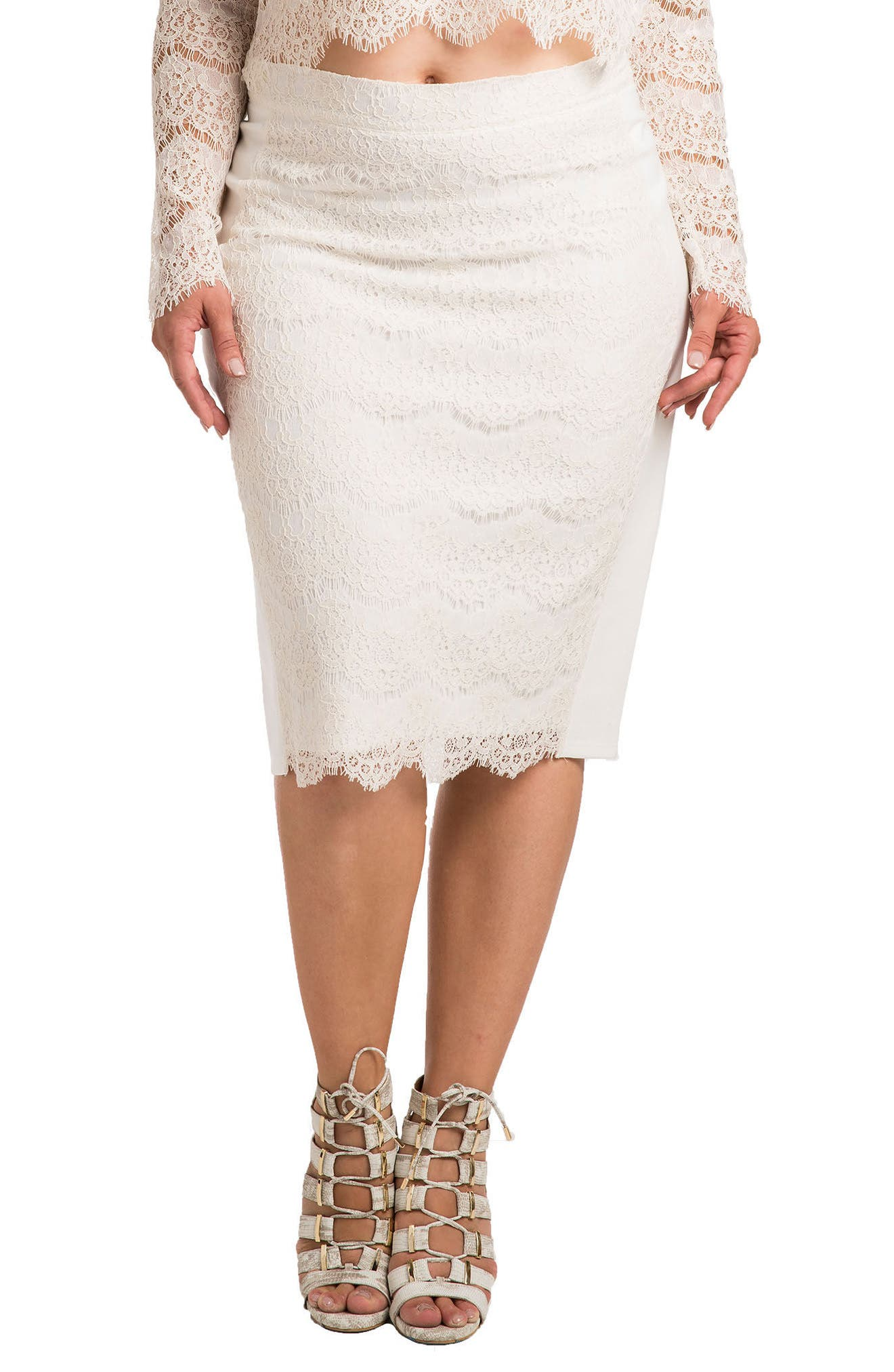 Standards & Practices Tori Lace Overlay Pencil Skirt (Plus Size)