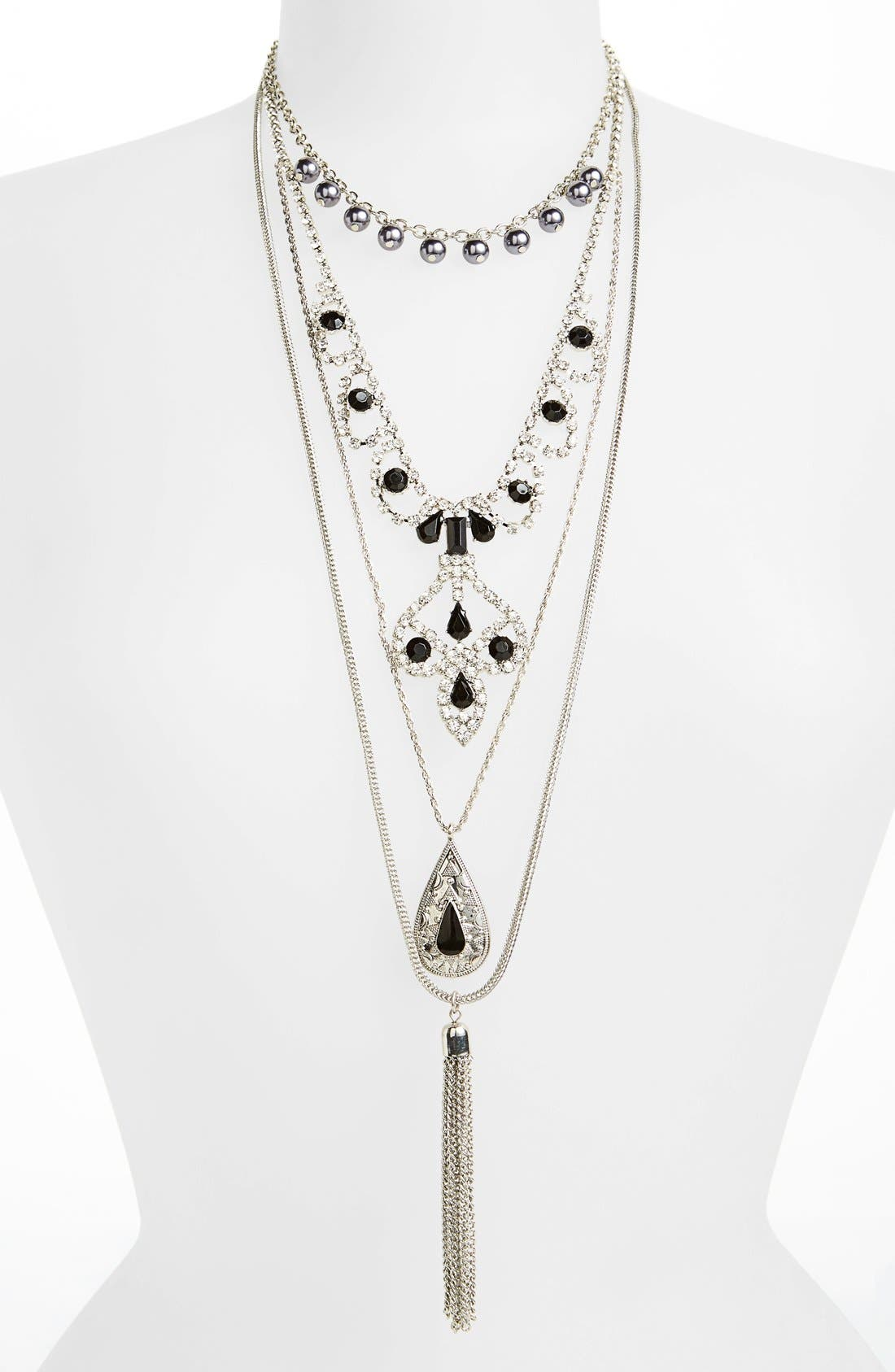 Main Image - Topshop Chain & Tassel Necklaces (Set of 3)