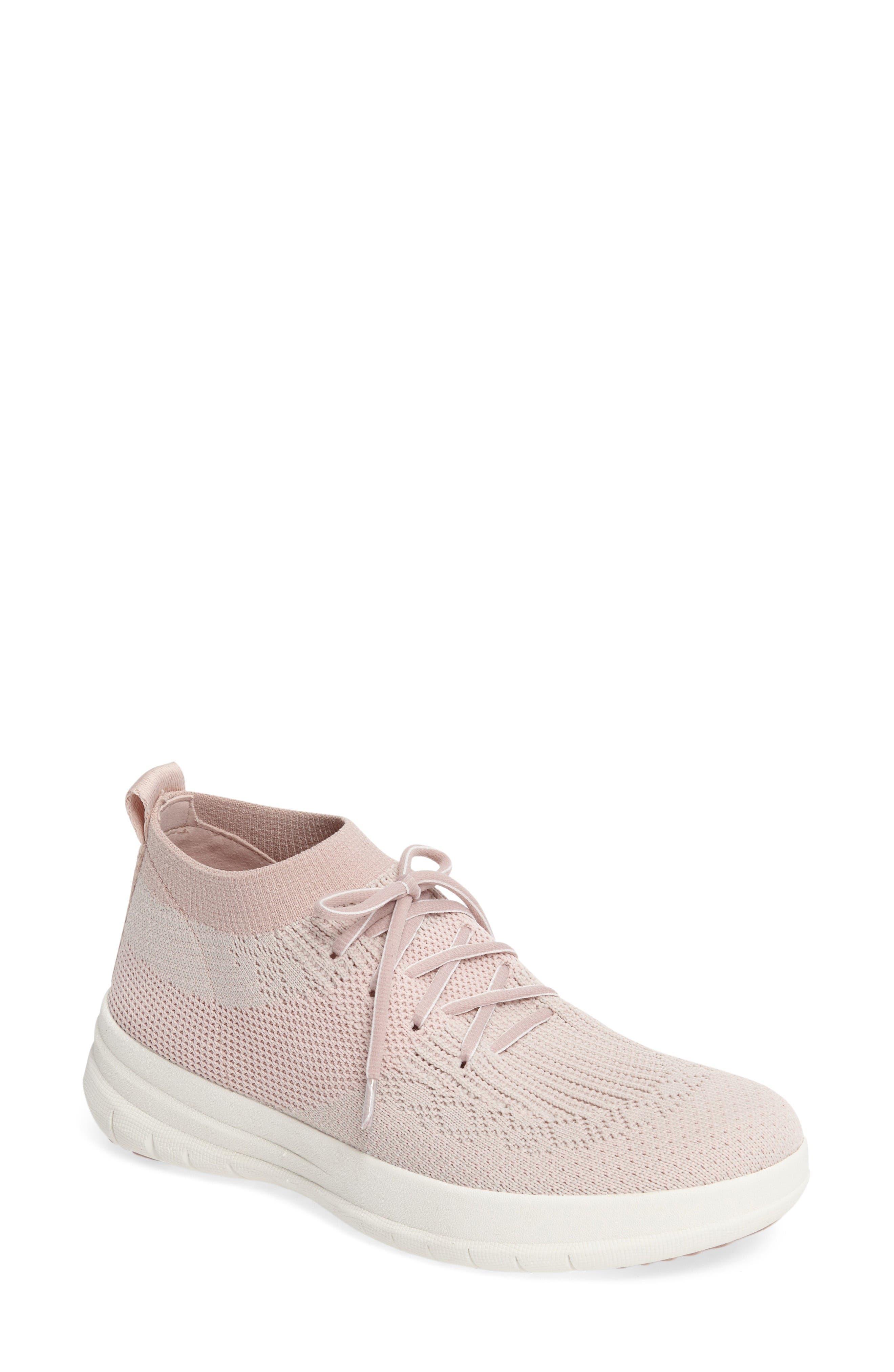 Überknit High Top Sneaker,                         Main,                         color, Neon Blush/ White Fabric