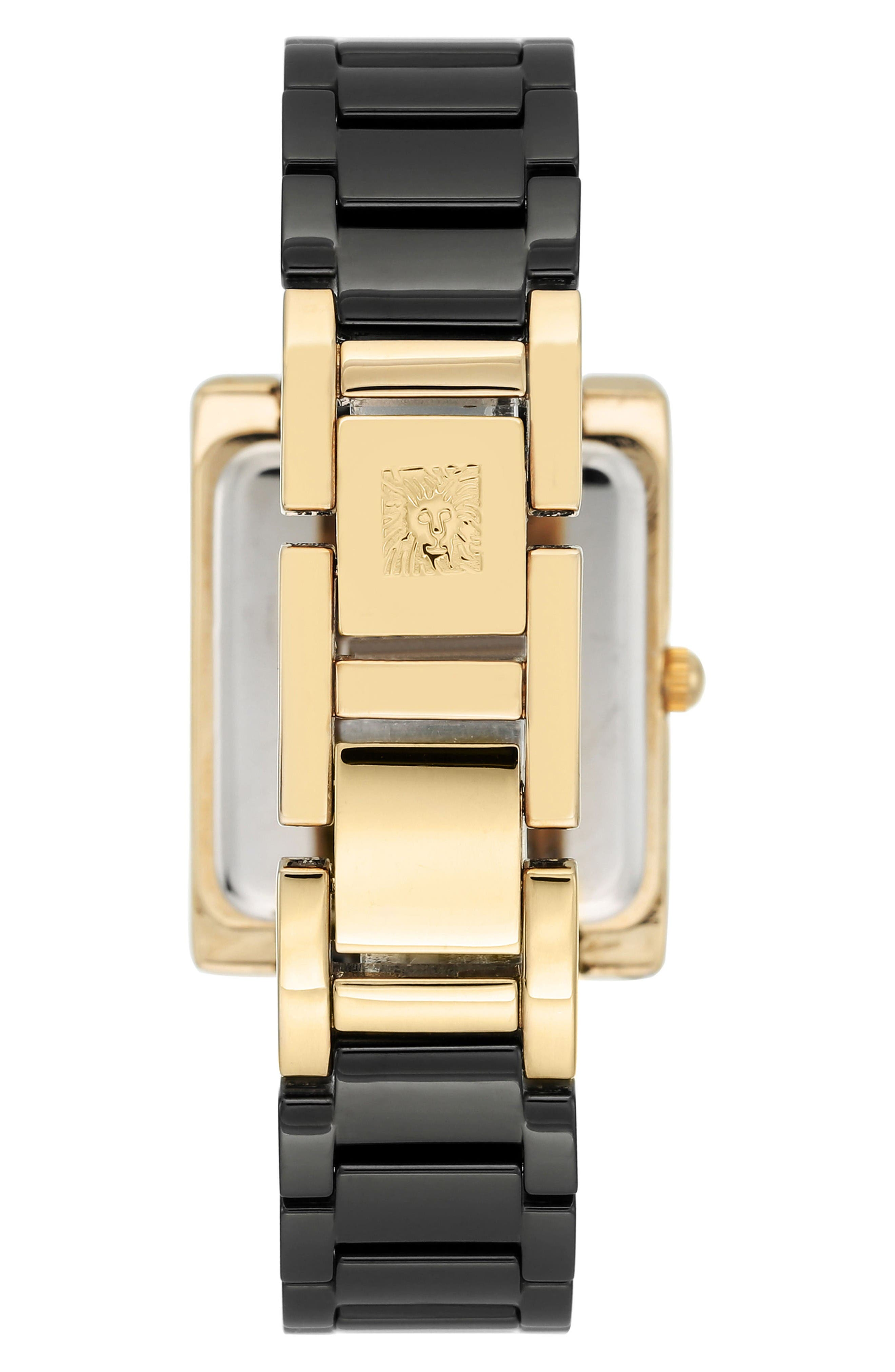 Rectangle Ceramic Bracelet Watch, 28mm x 35mm,                             Alternate thumbnail 2, color,                             Black/ Gold