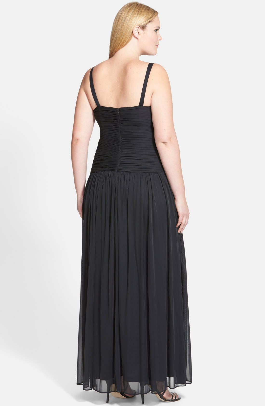 Alternate Image 2  - Adrianna Papell Pleat Bodice Tulle Gown & Shrug (Plus Size)