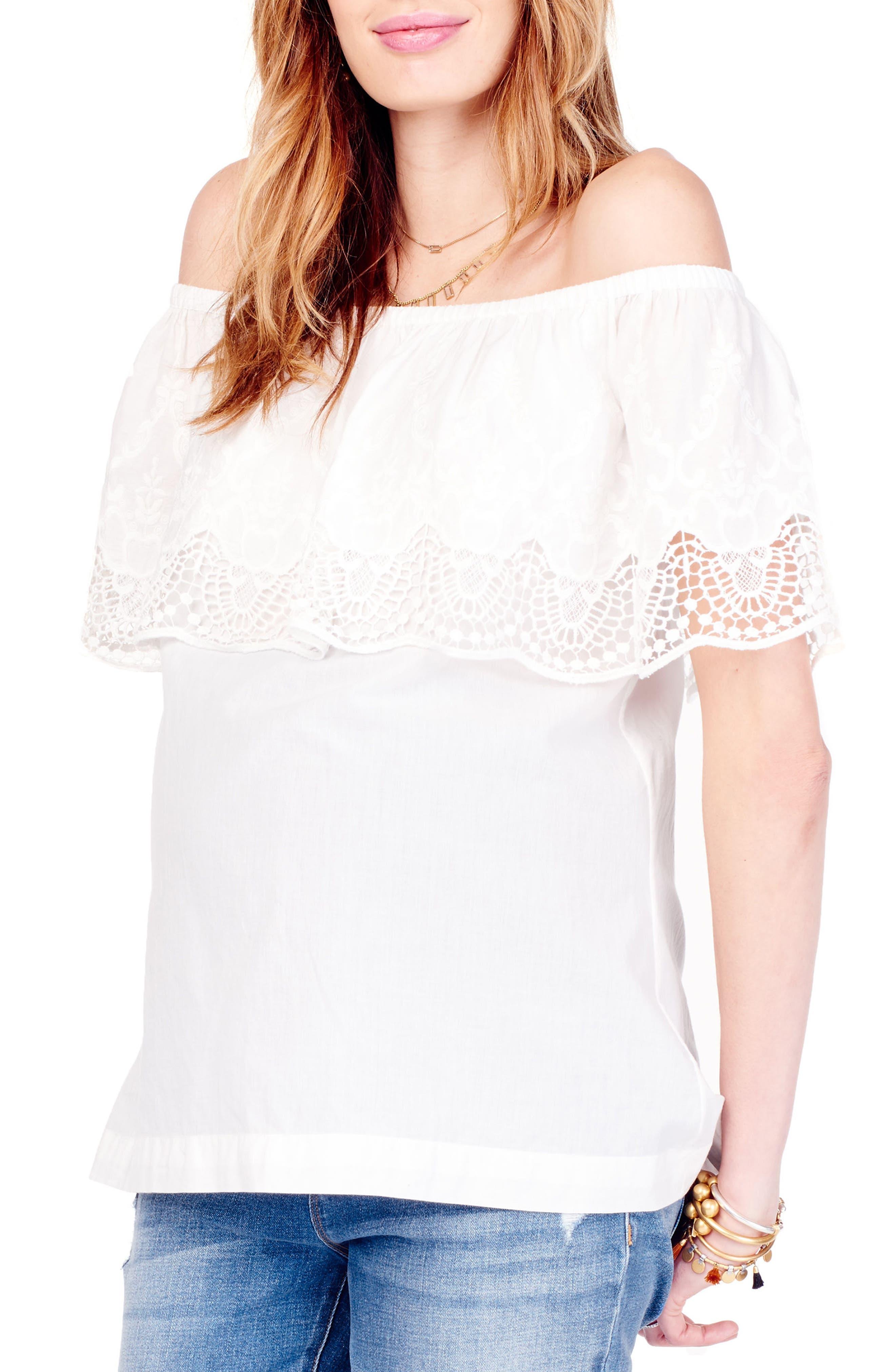 Alternate Image 4  - Ingrid & Isabel® Lace Off the Shoulder Maternity Top