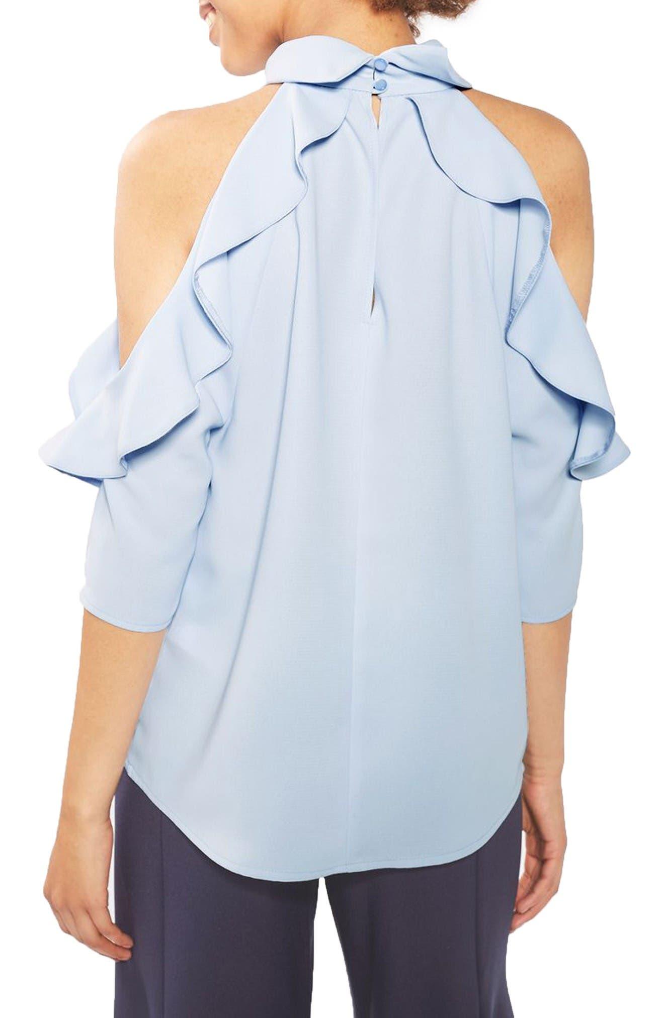 Alternate Image 3  - Topshop Ruffle Cold Shoulder Top