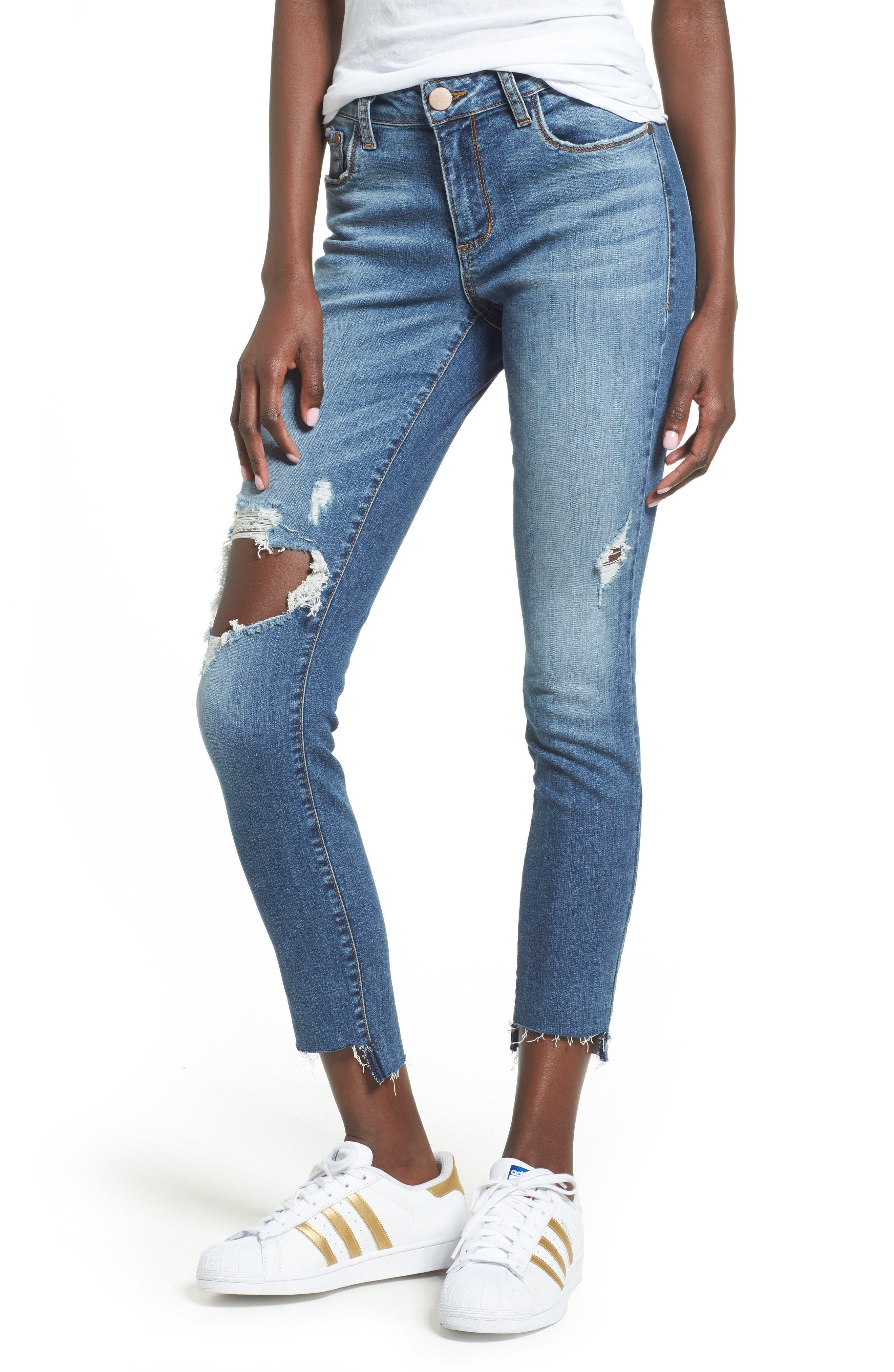 Alternate Image 1 Selected - BP. Ripped Step Hem Skinny Jeans (Destroy Rinse)