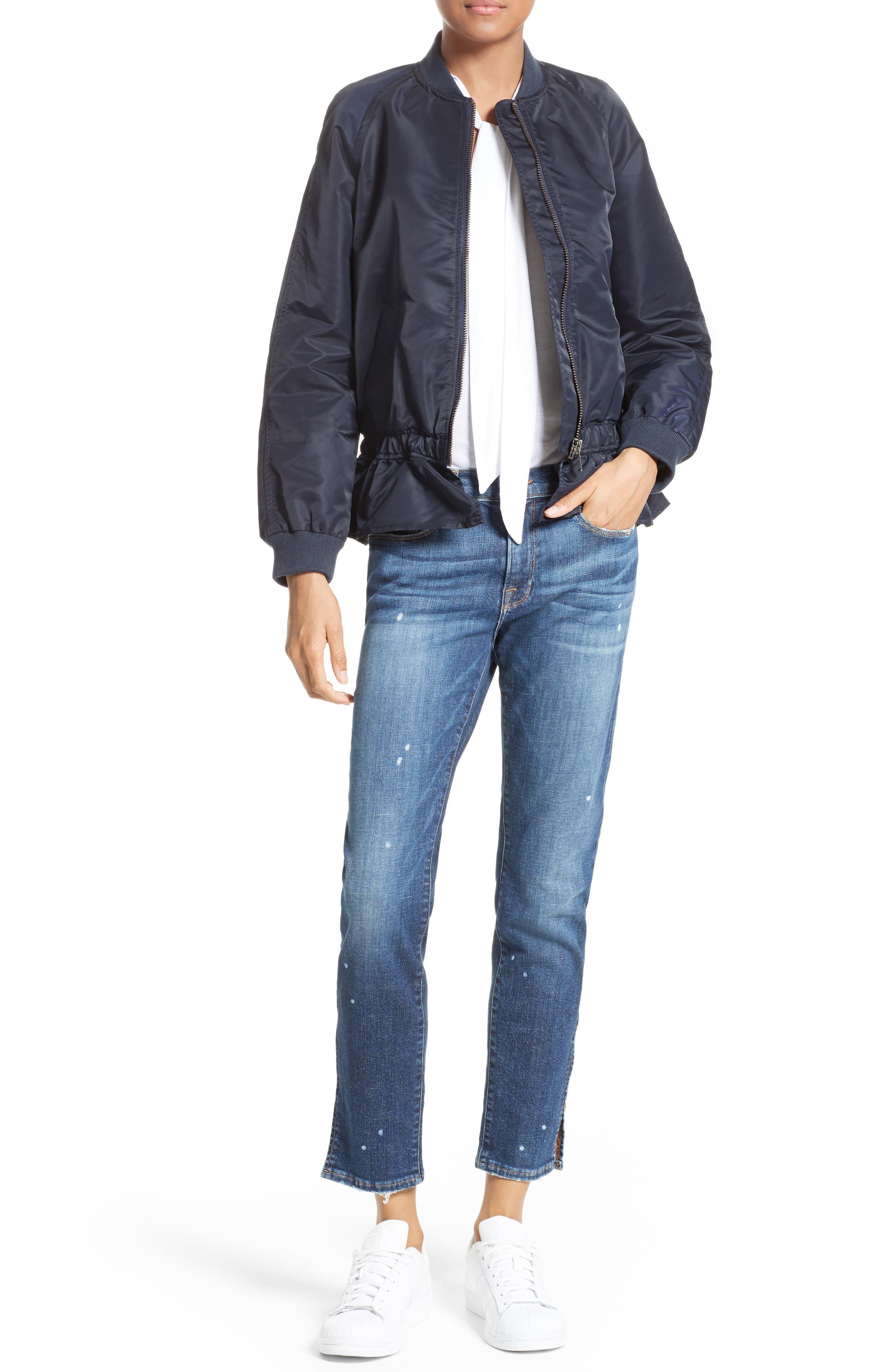 Alternate Image 6  - FRAME Le Garcon Slim Zip Hem Jeans (Marion)