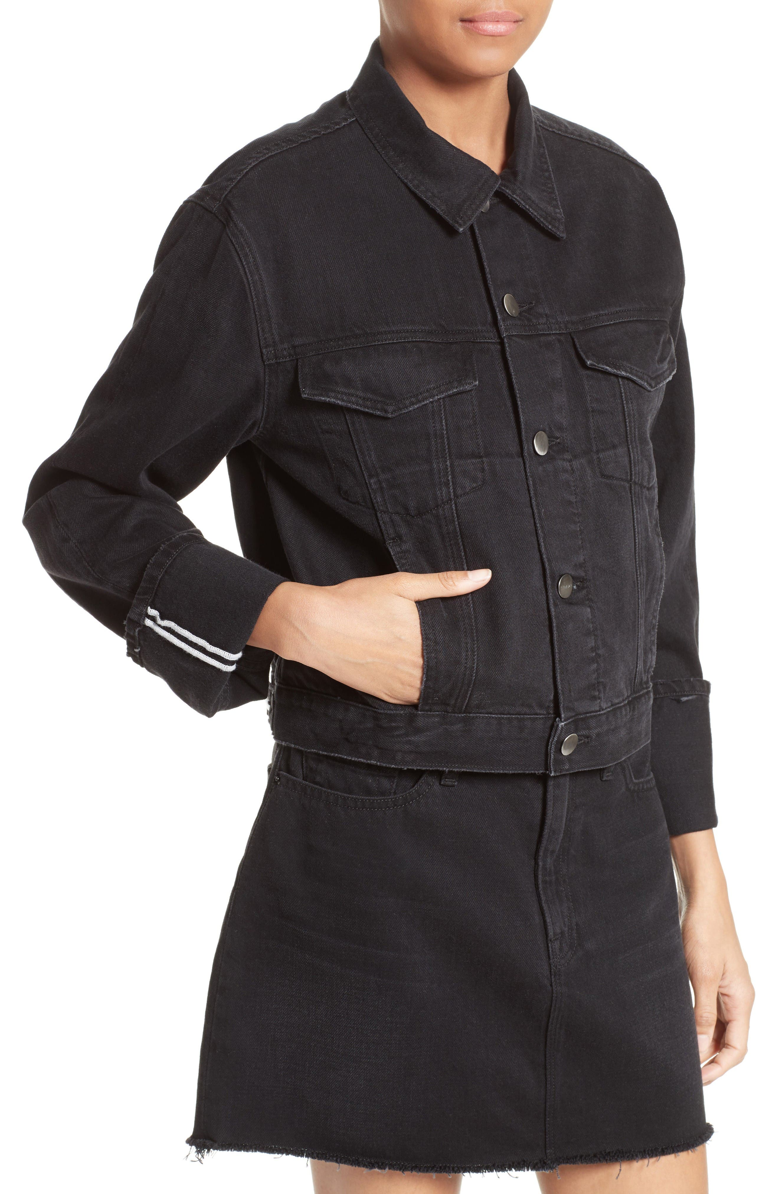 Le Cuffed Denim Jacket,                             Alternate thumbnail 5, color,                             Black Knight