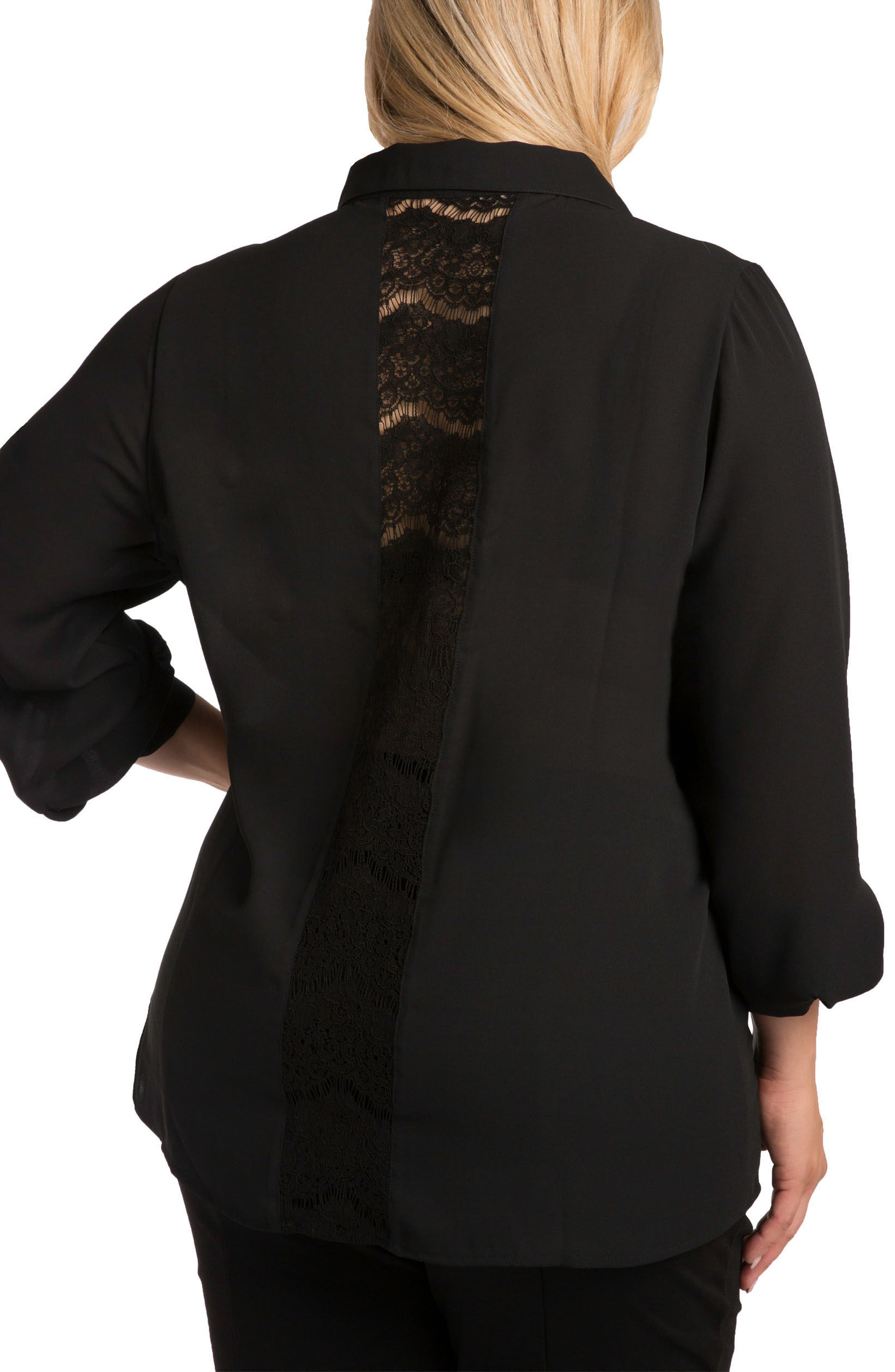 Coco Lace Front Shirt,                             Alternate thumbnail 2, color,                             Black
