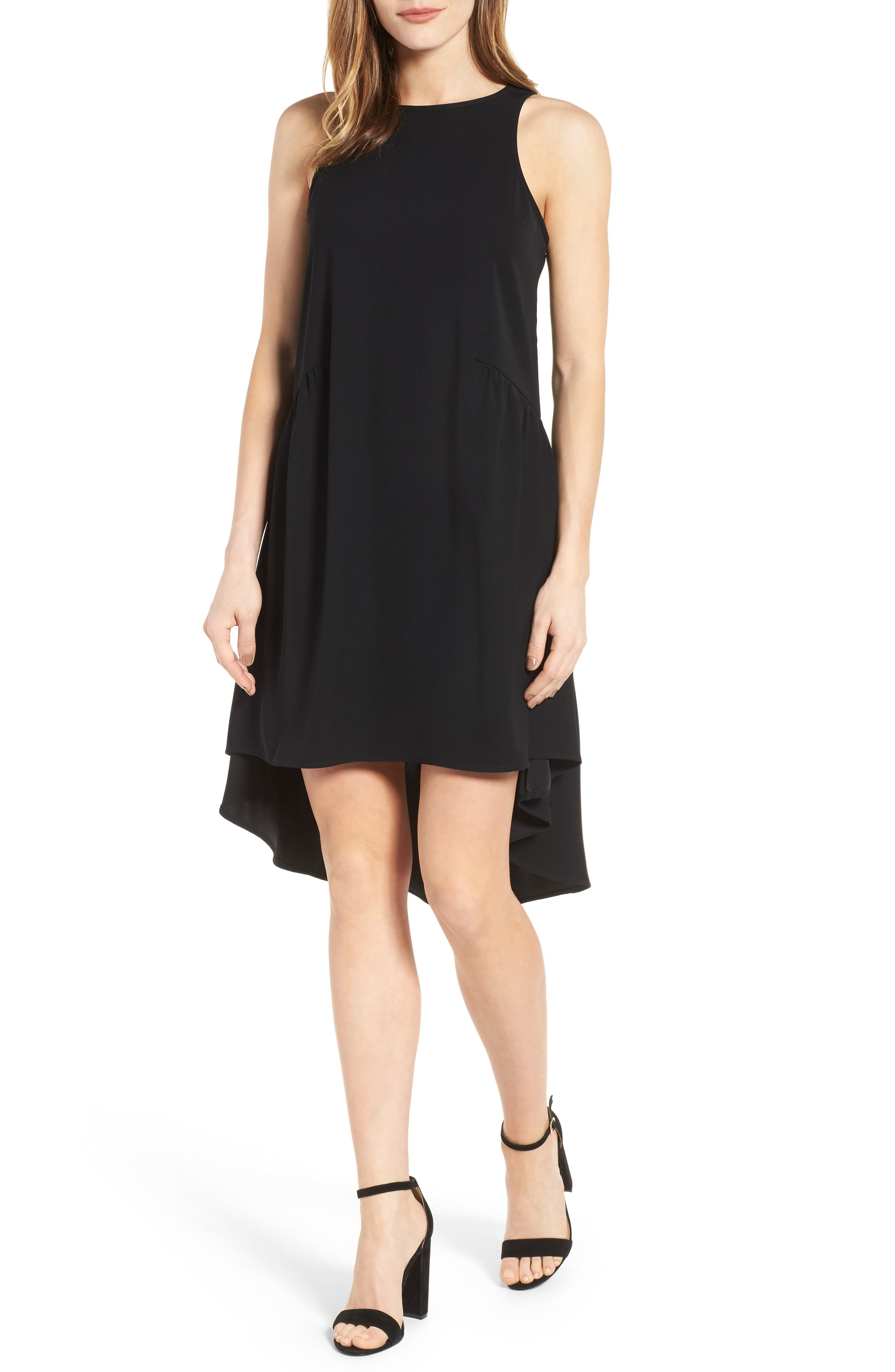 Ruffled High/Low Shift Dress,                         Main,                         color, Black