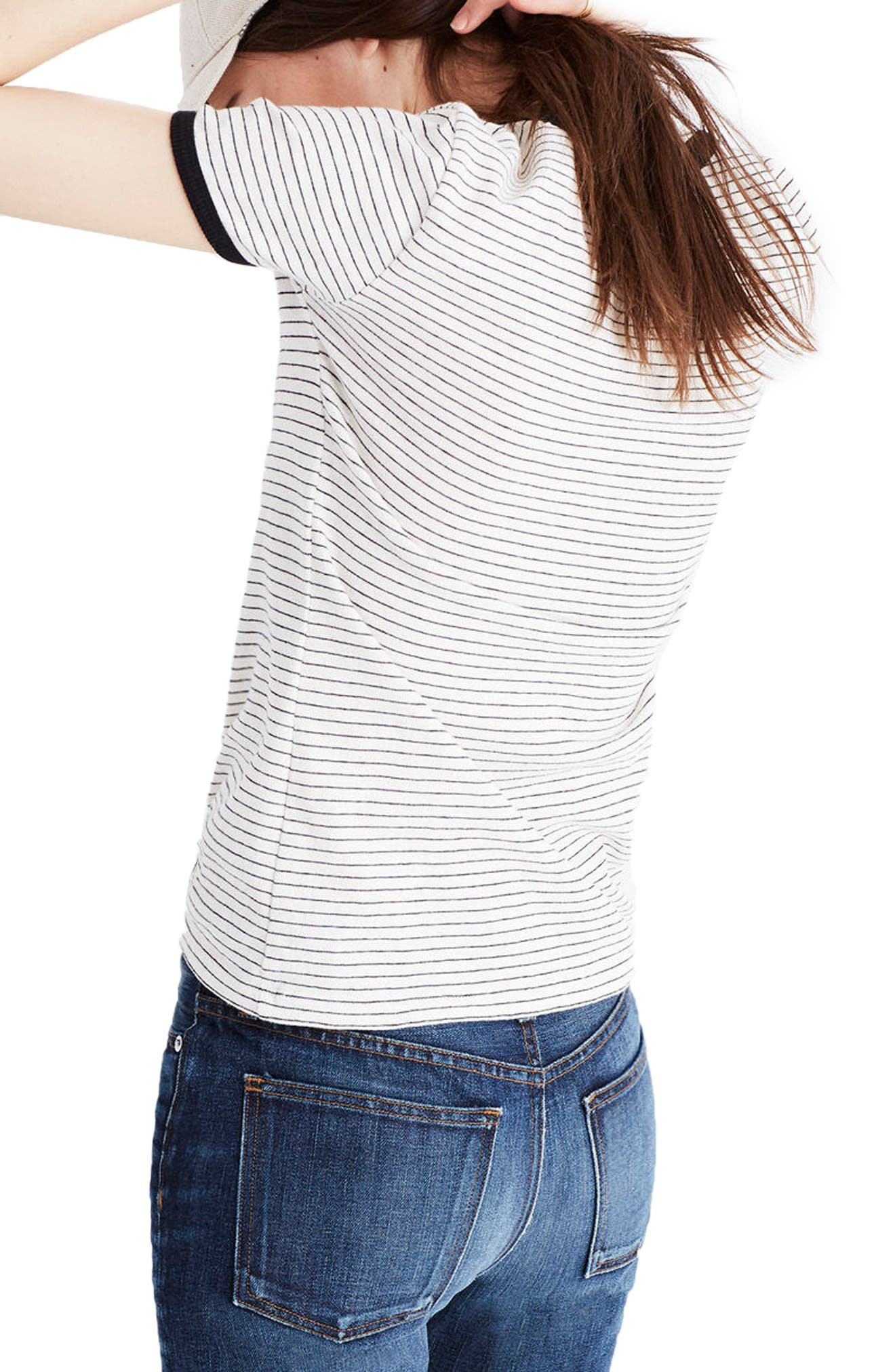 Stripe Recycled Cotton Ringer Tee,                             Alternate thumbnail 2, color,                             Natural Seeded