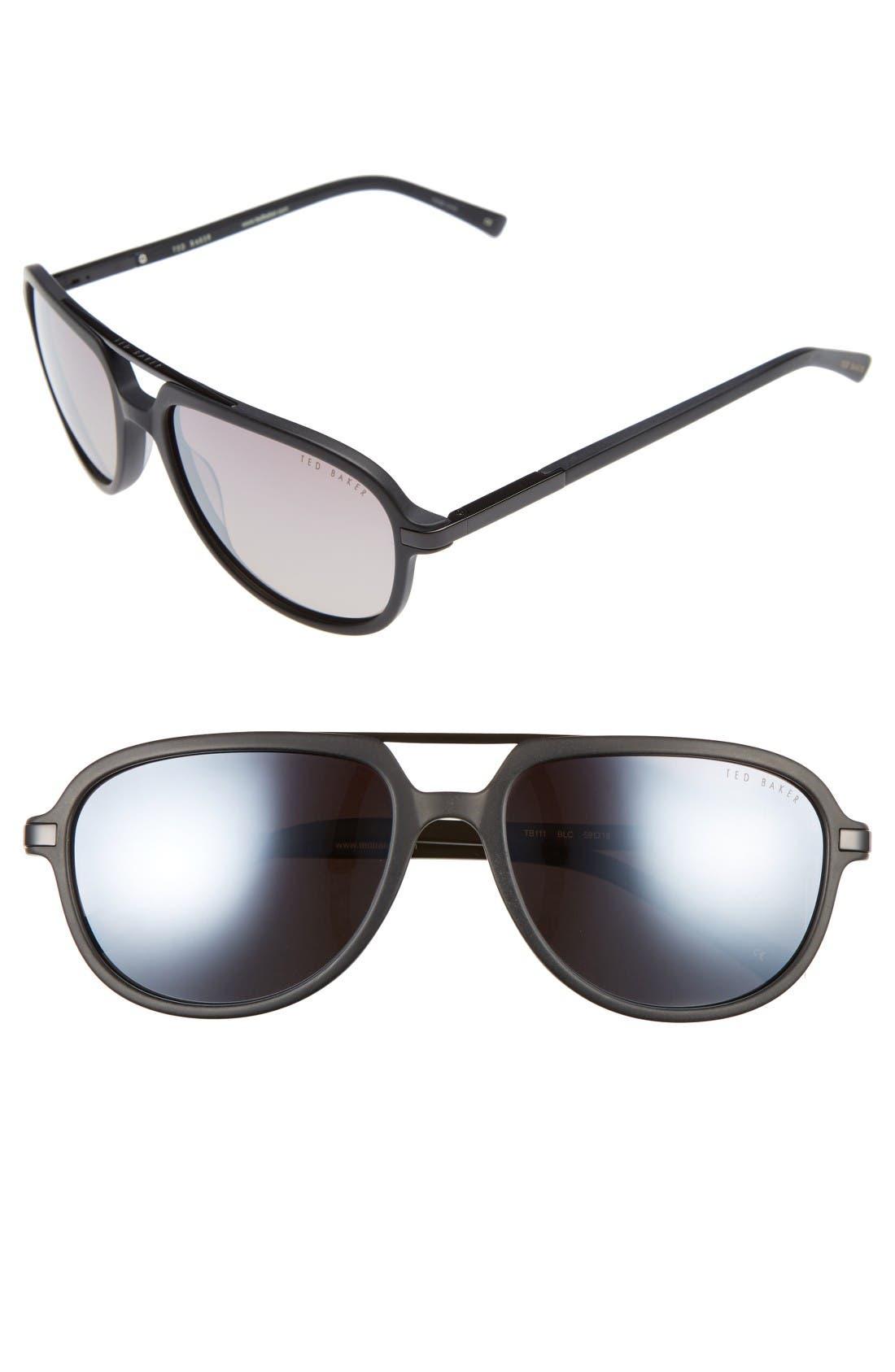 59mm Polarized Aviator Sunglasses,                         Main,                         color, Black