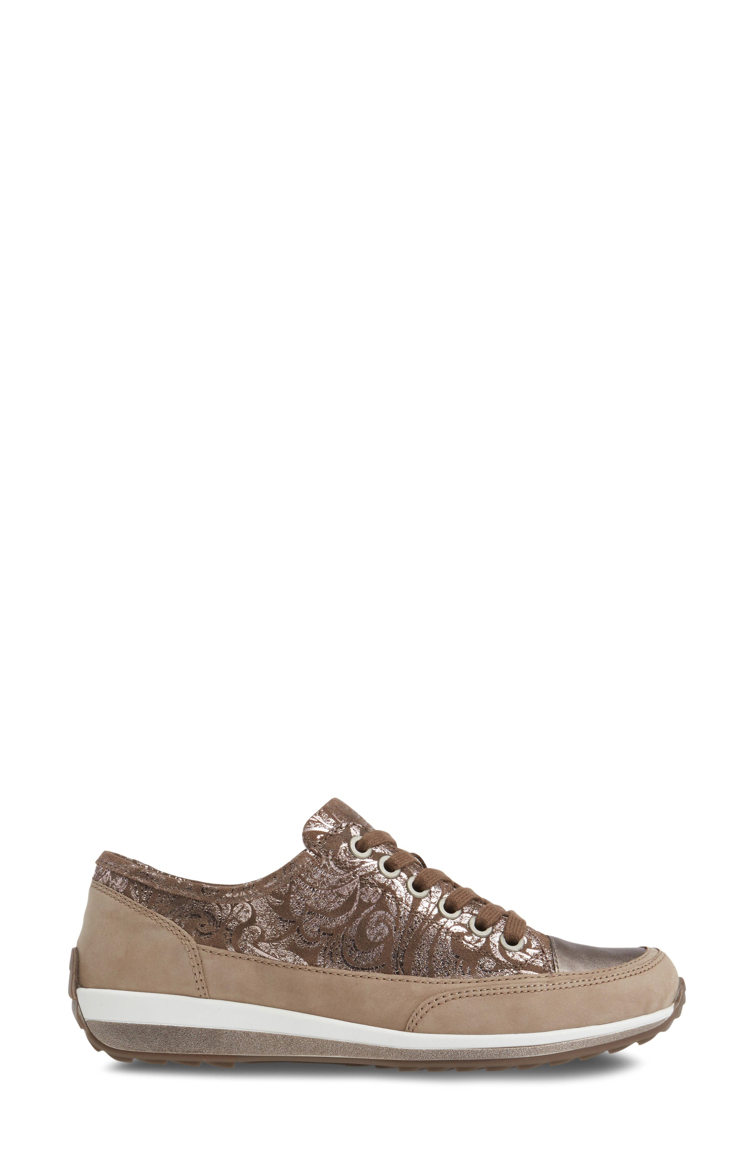 Hermione Sneaker,                             Alternate thumbnail 3, color,                             Taupe Combo Leather