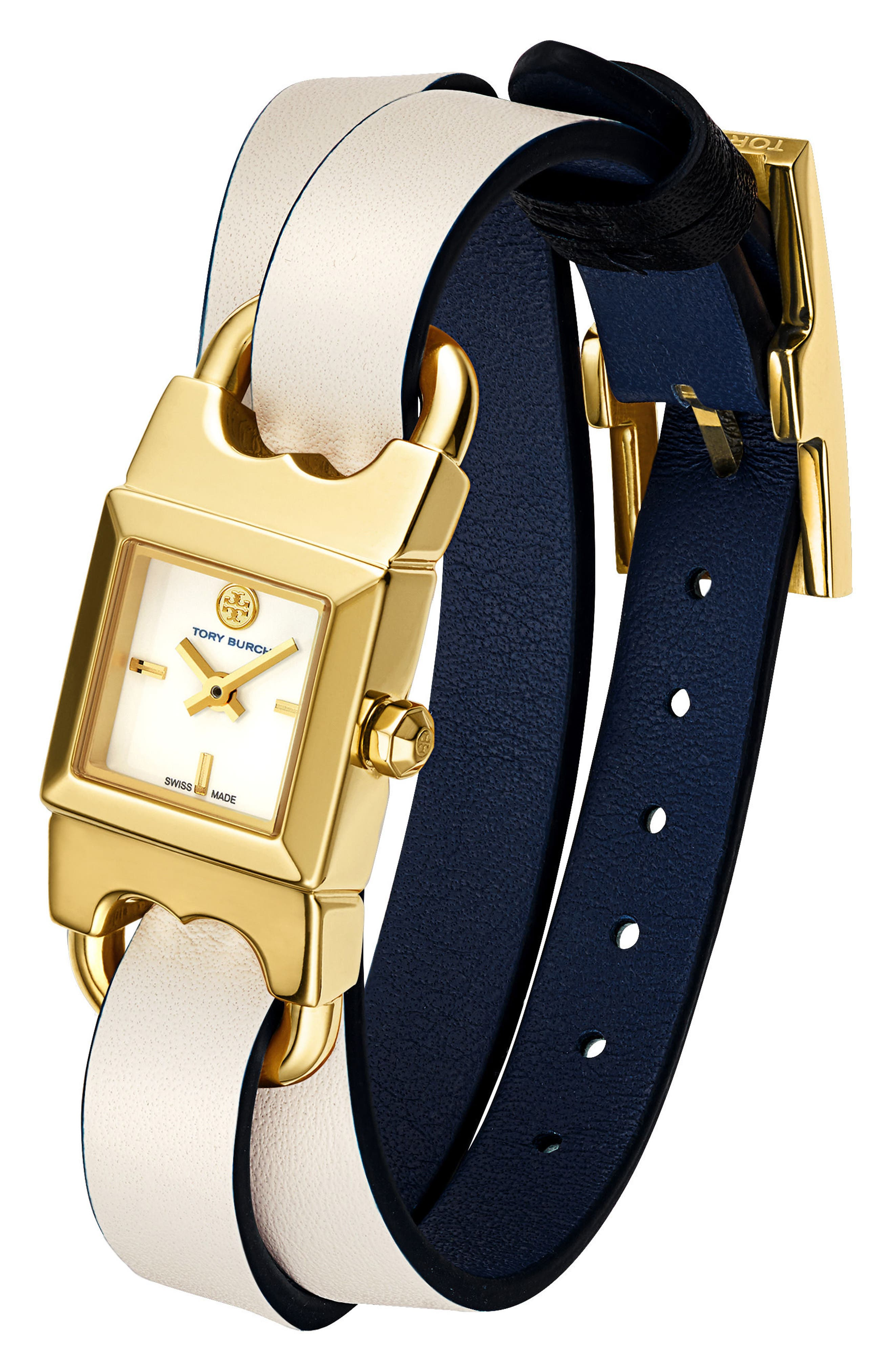 Alternate Image 2  - Tory Burch Double T Link Reversible Wrap Leather Strap Watch, 19mm x 23mm