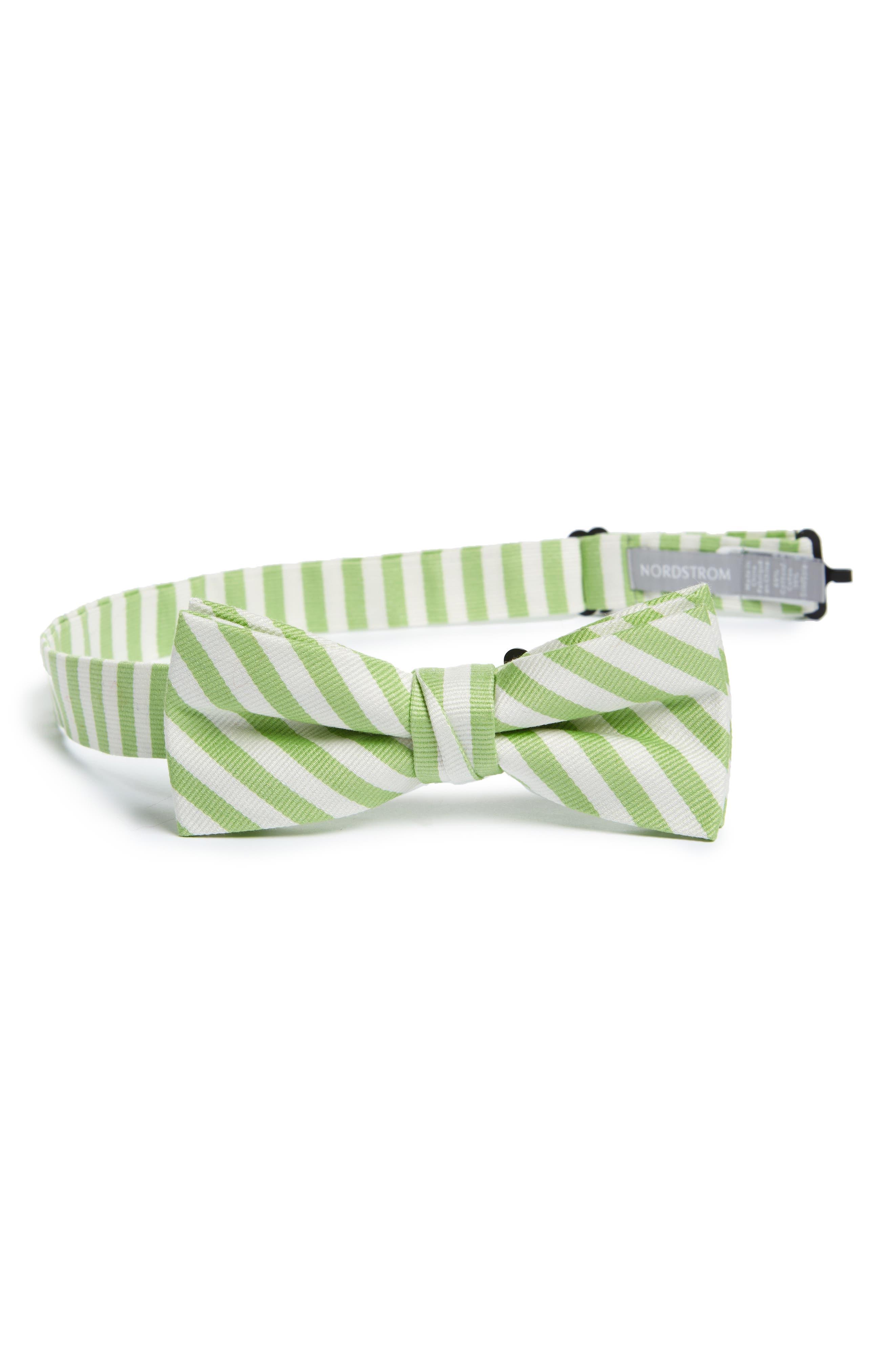 Stripe Cotton & Silk Bow Tie,                         Main,                         color, Green Stripe