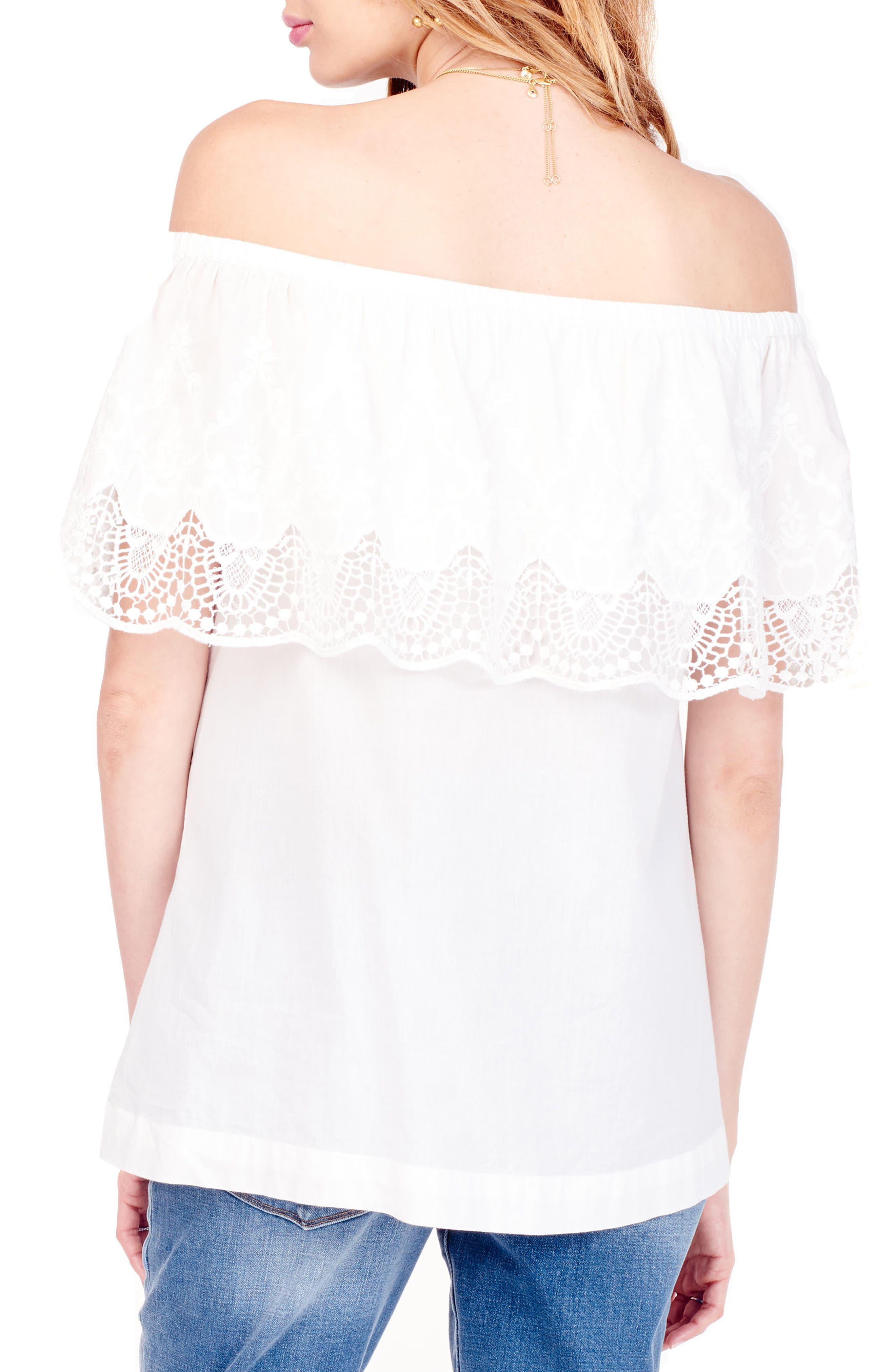 Alternate Image 3  - Ingrid & Isabel® Lace Off the Shoulder Maternity Top