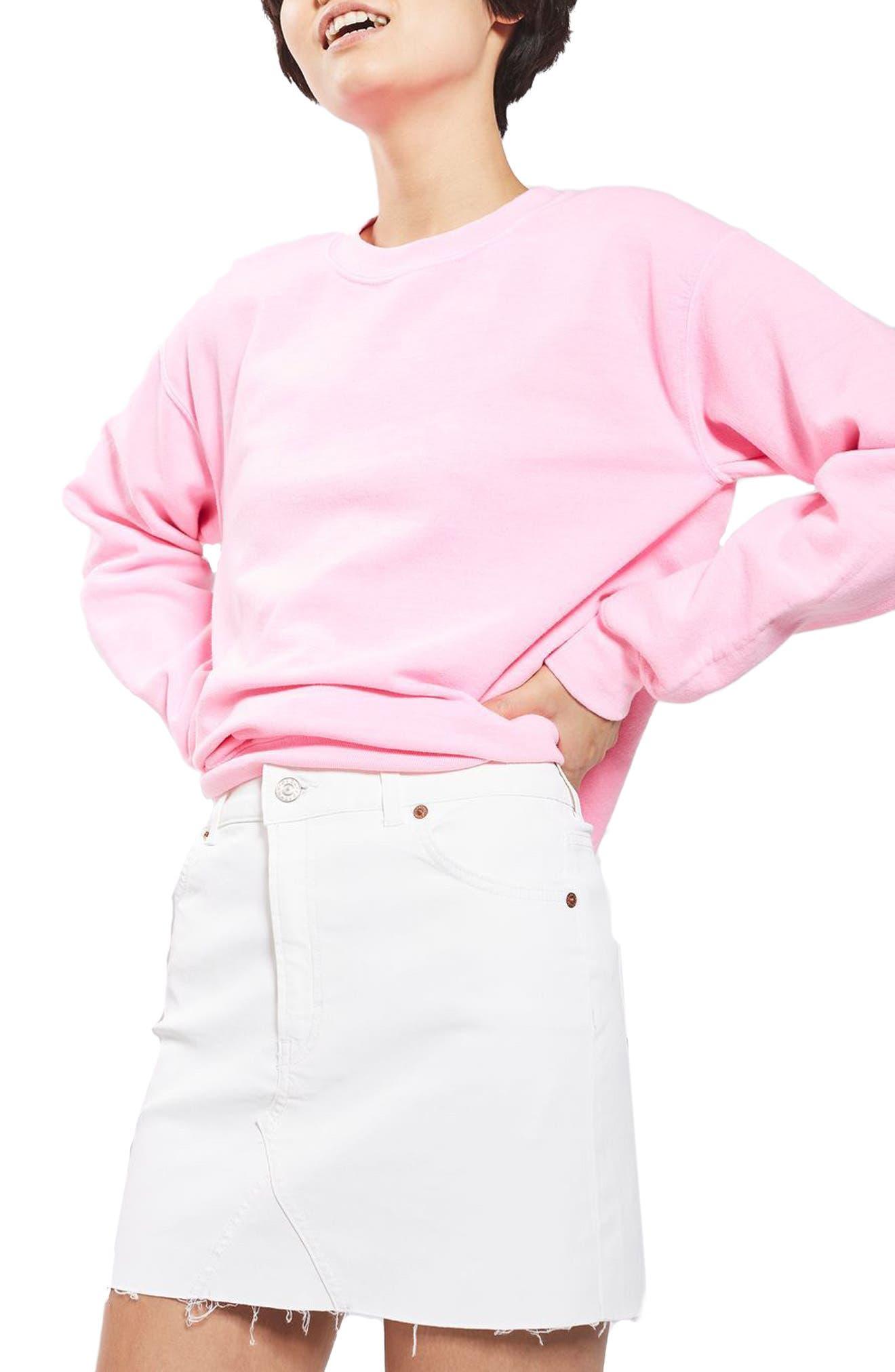 Main Image - Topshop Coated Denim Miniskirt