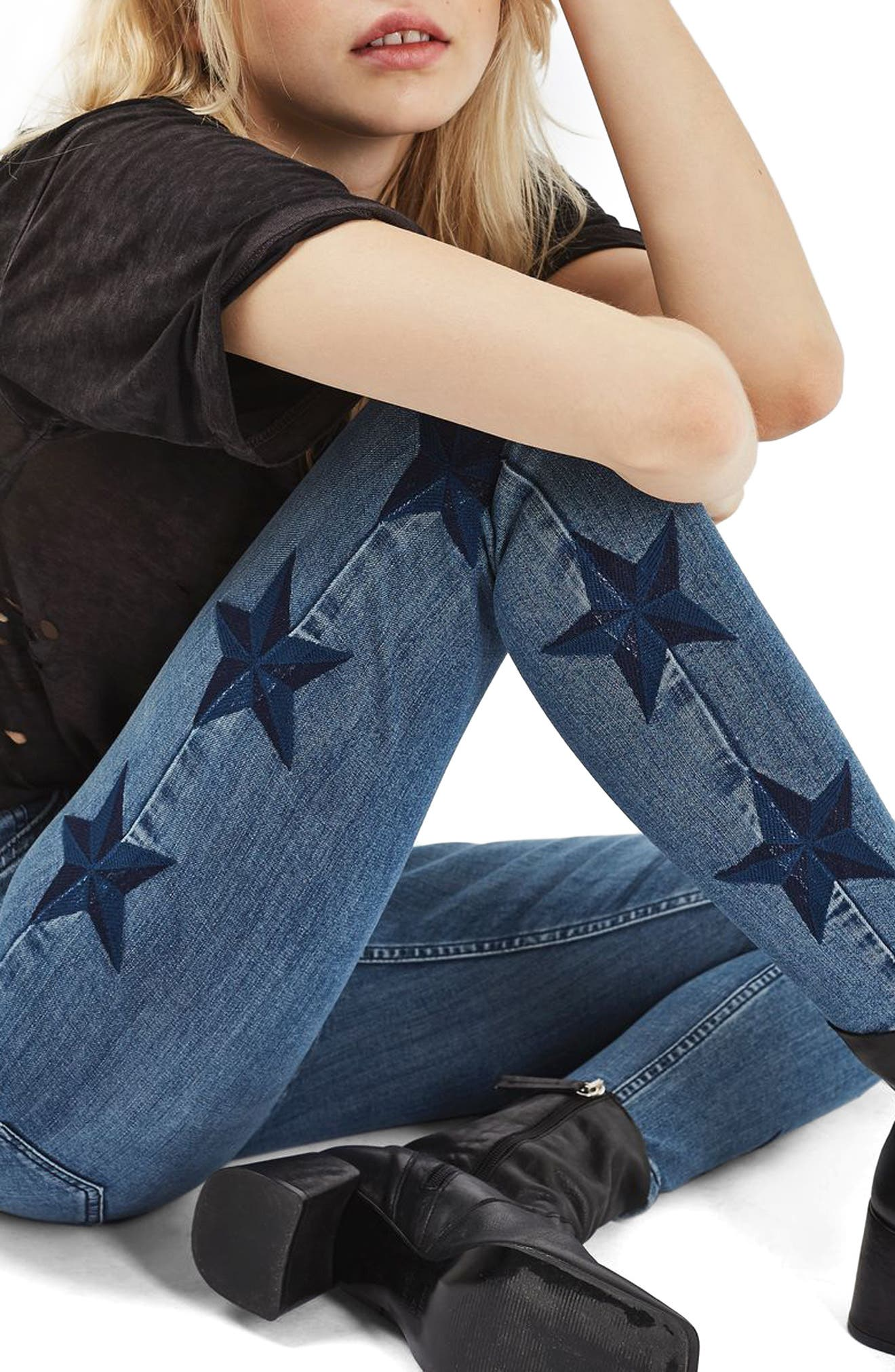Topshop Jamie Star Embroidered Skinny Jeans