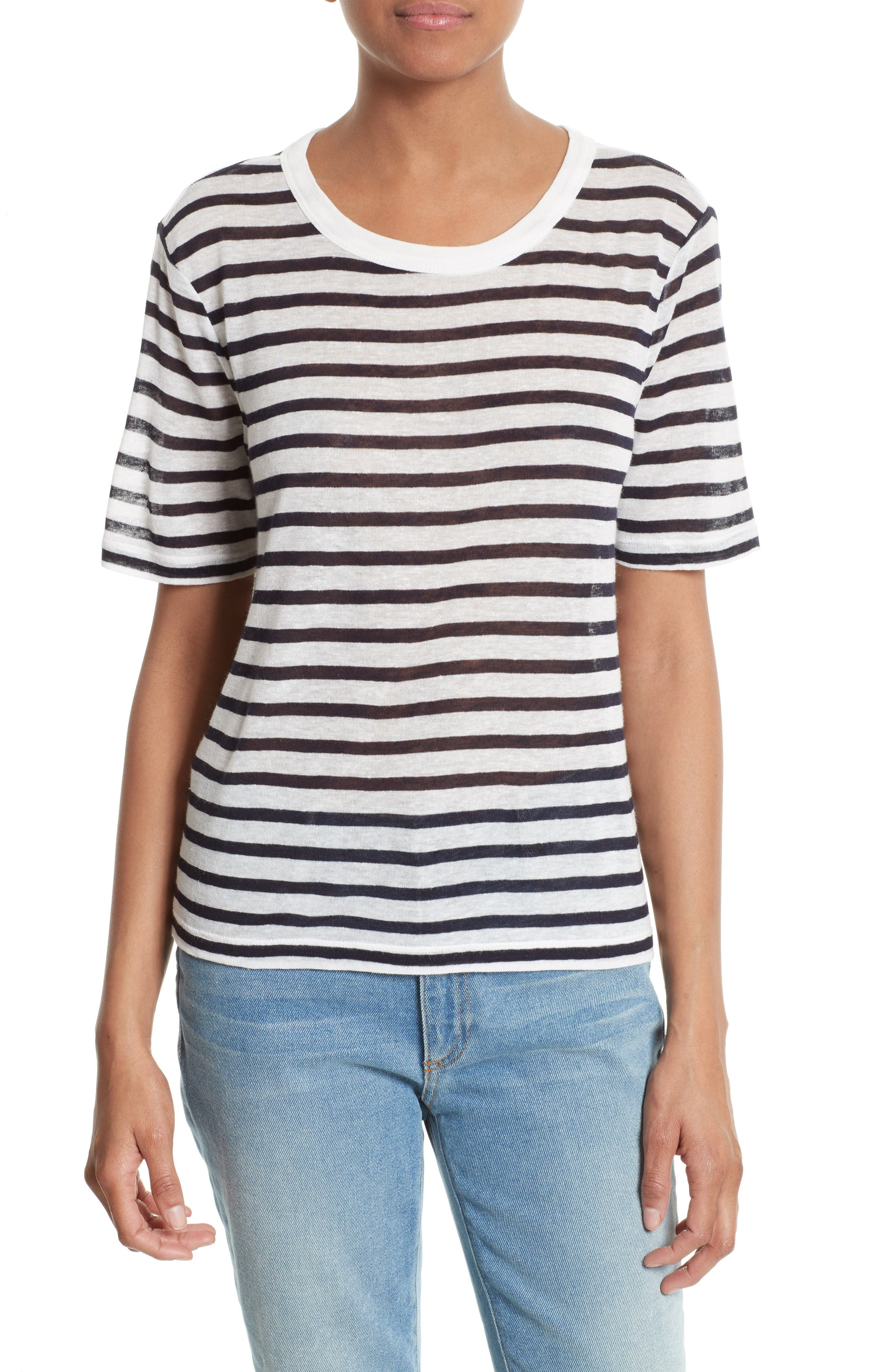 Stripe Tee,                             Main thumbnail 1, color,                             Ink And Ivory
