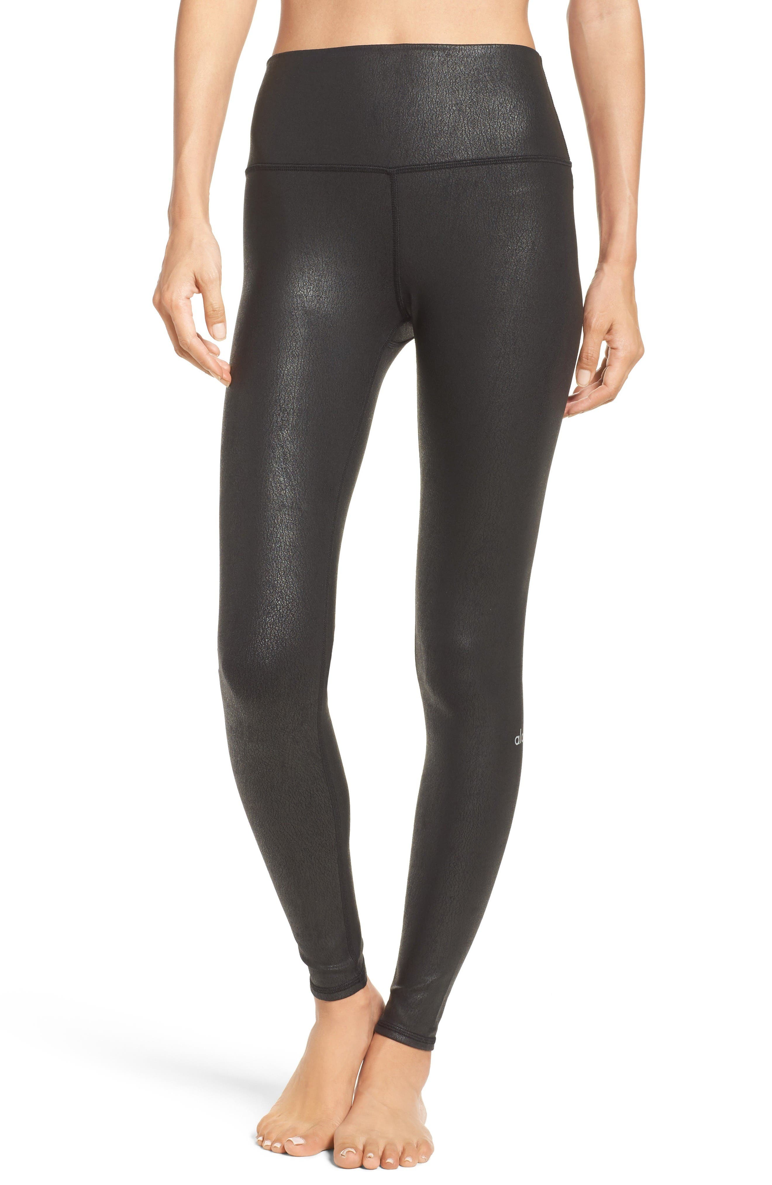 Airbrush High Waist Leggings,                         Main,                         color, Black Performance Leather