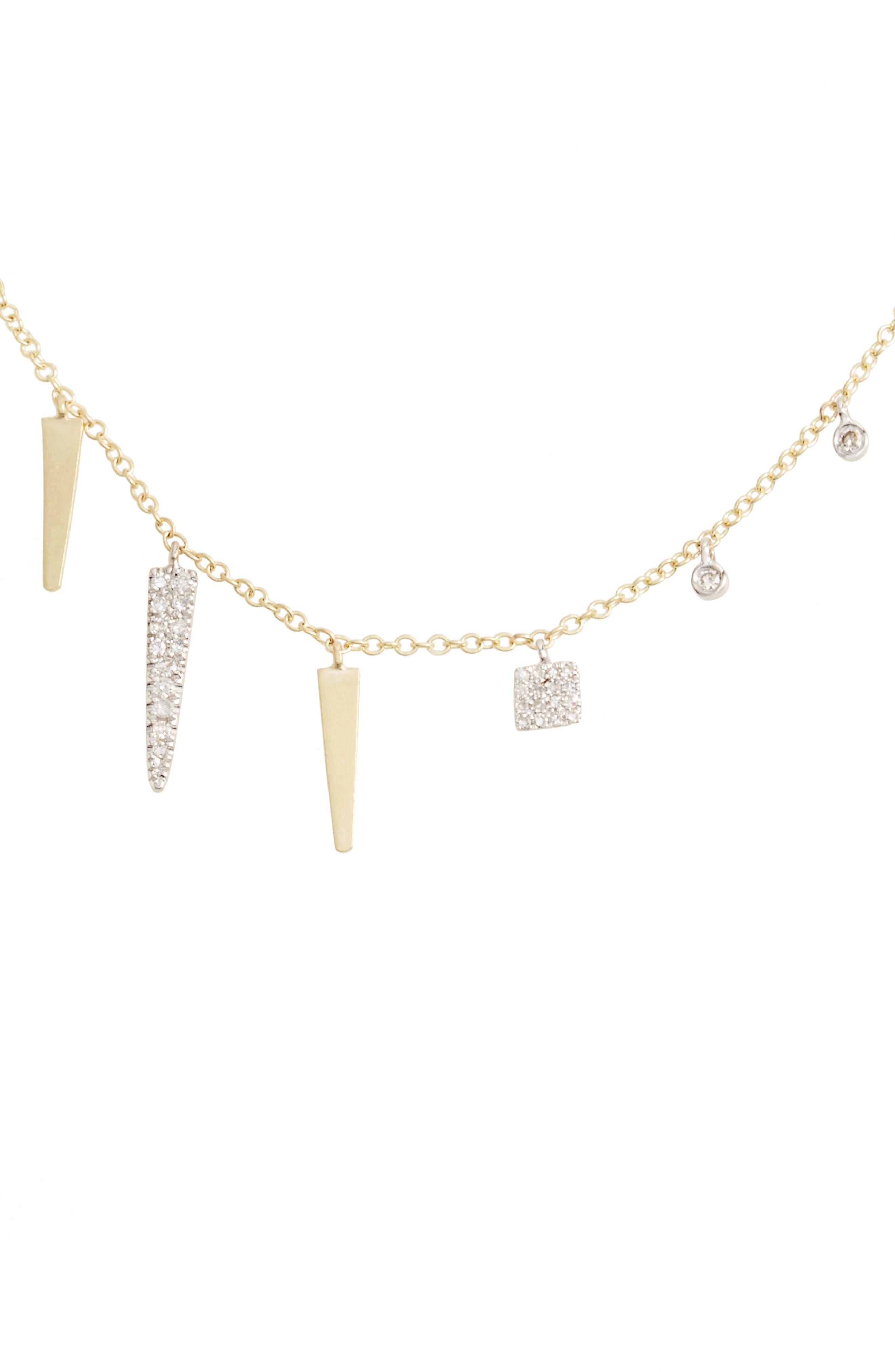 Main Image - Meira T Diamond Spike Dangle Charm Necklace