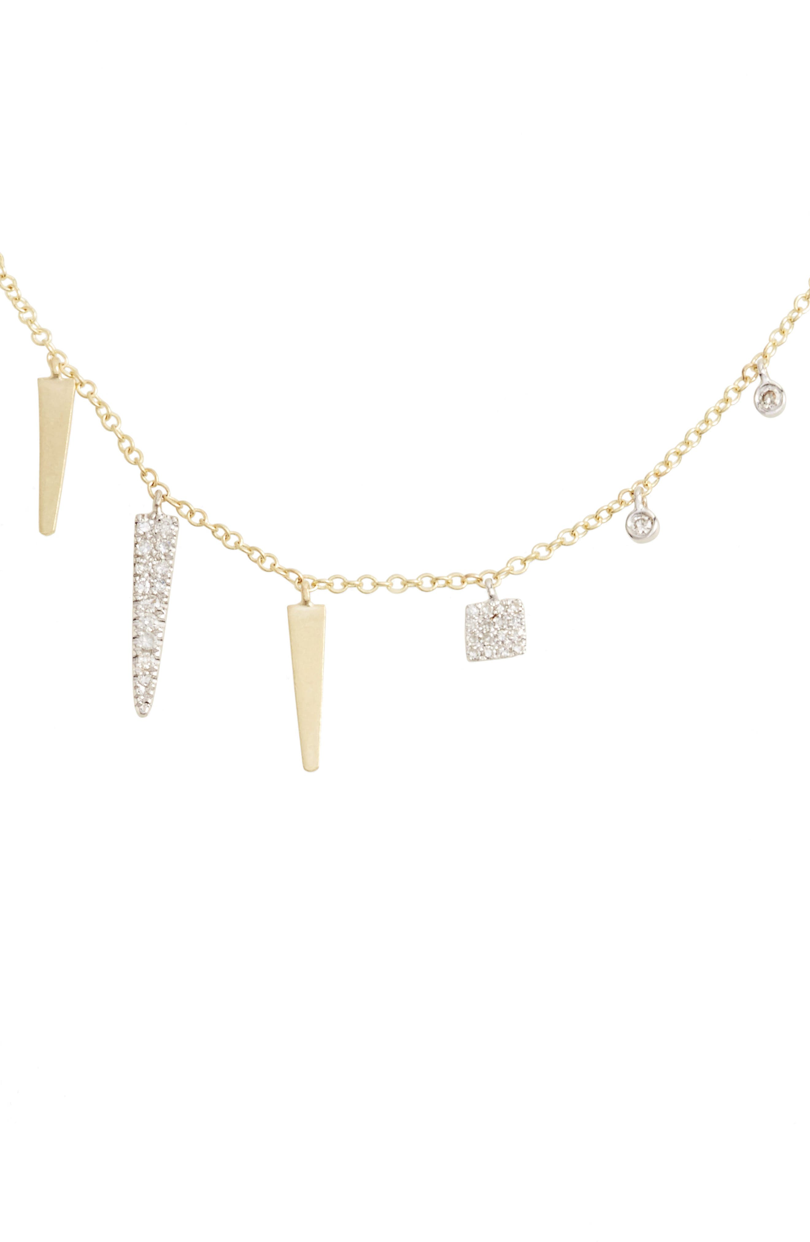 Diamond Spike Dangle Charm Necklace,                         Main,                         color, Yellow Gold/ White Gold