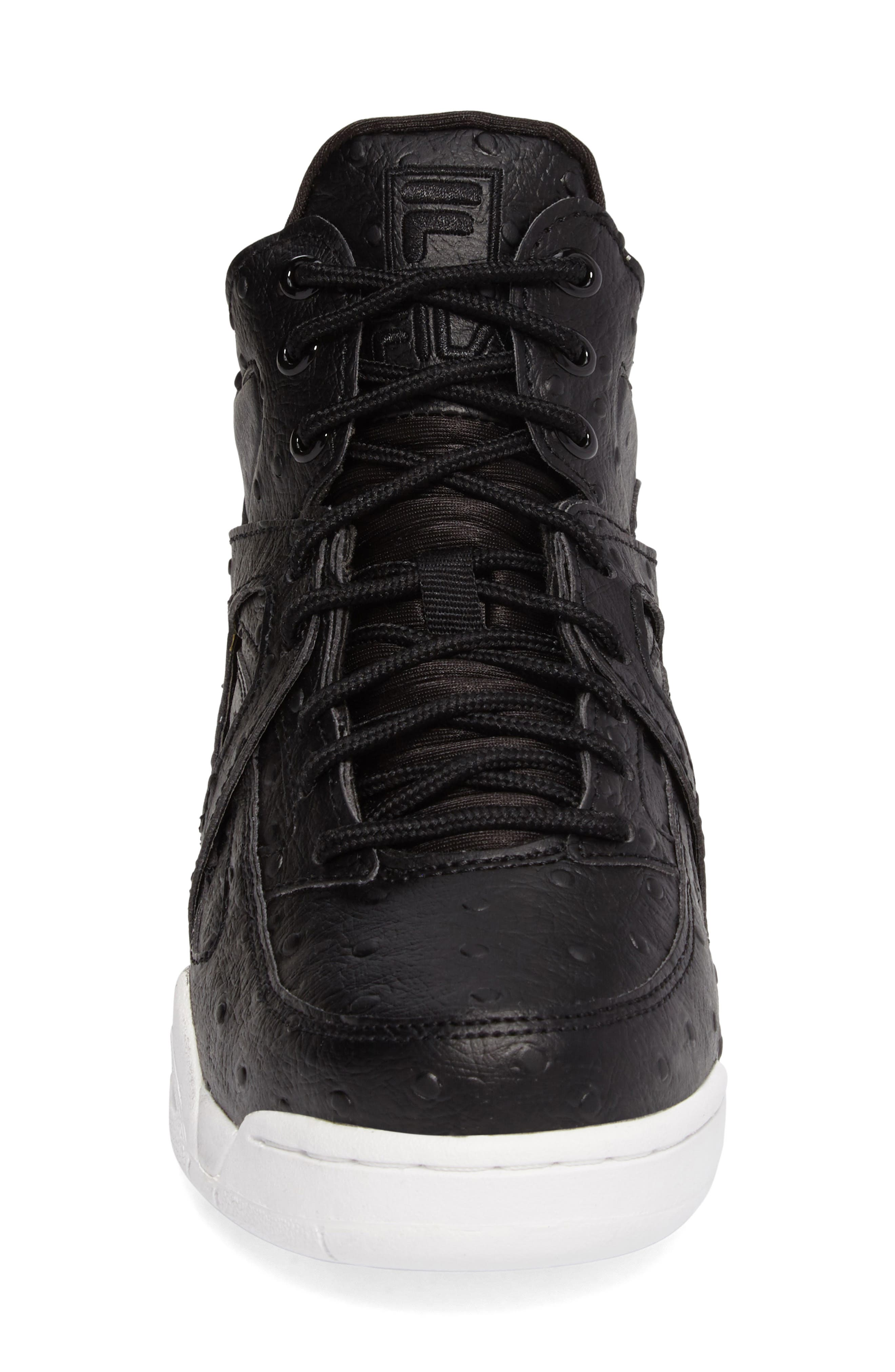The Cage Ostrich Sneaker,                             Alternate thumbnail 4, color,                             Black