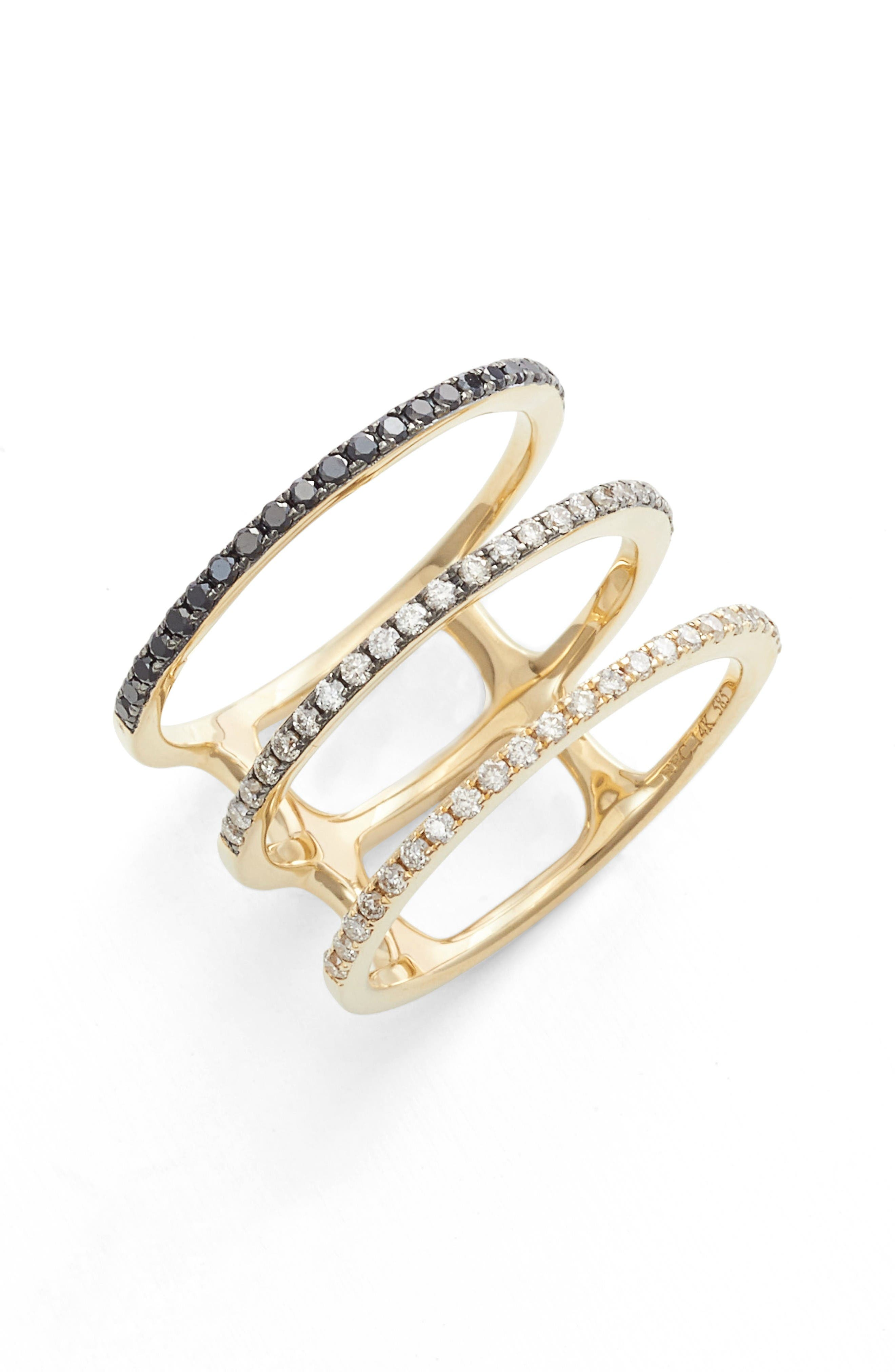 Diamond Triple Fade Stacking Ring,                         Main,                         color, Yellow Gold